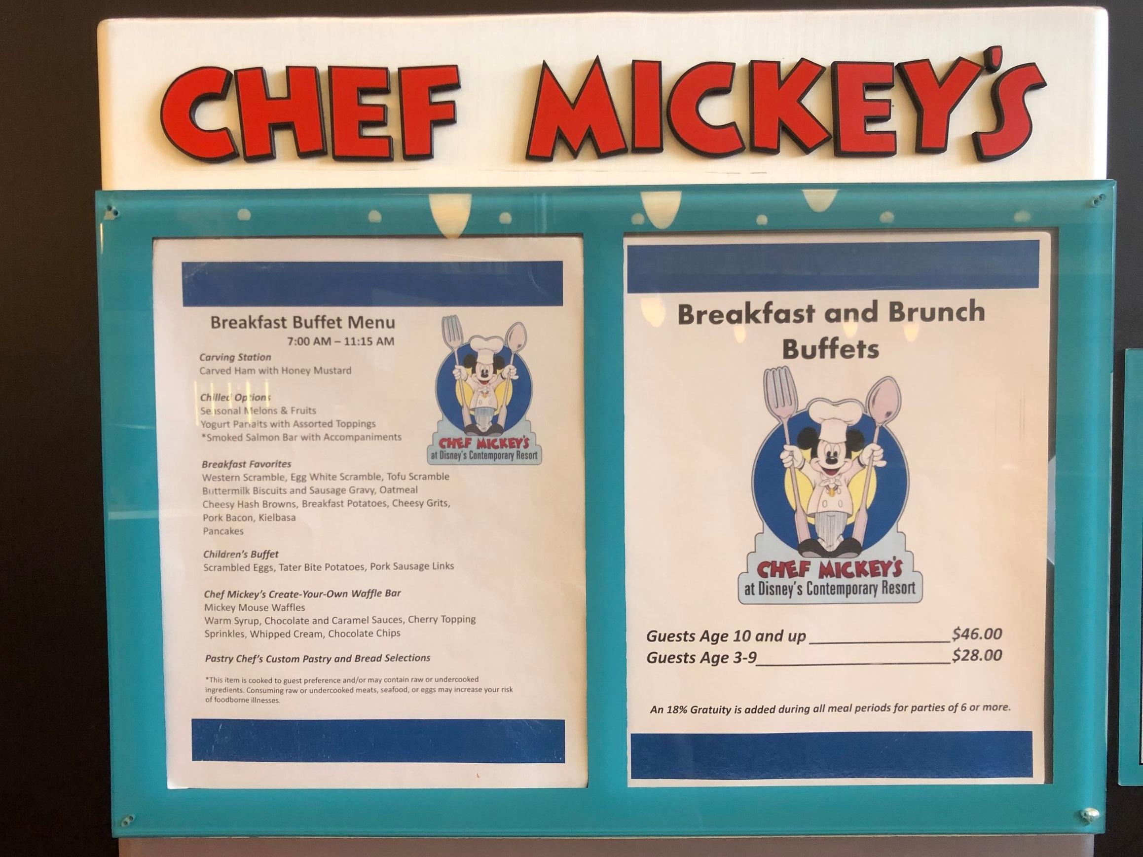 Chef Mickey's Menu