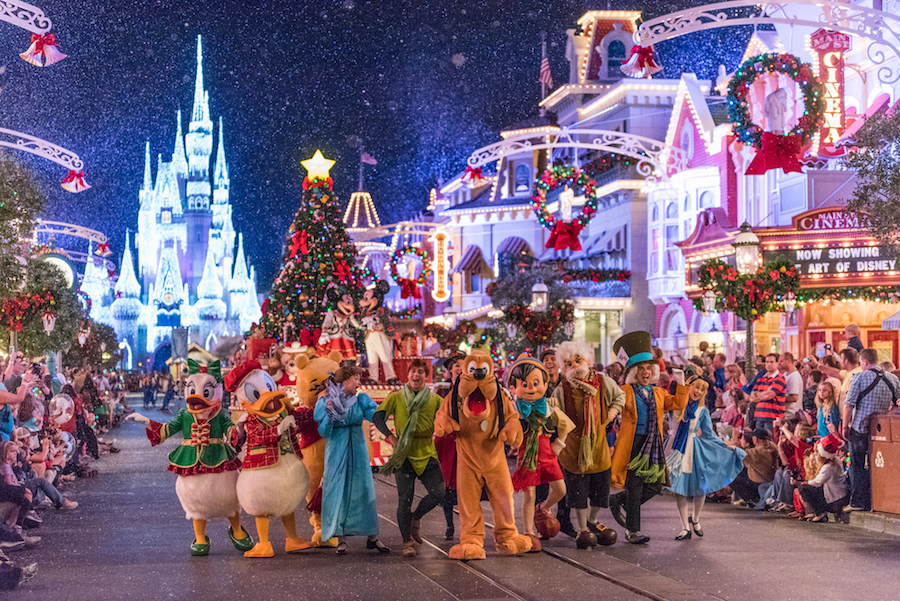 Mickey and Minnie in the Once Upon a Christmastime Parade