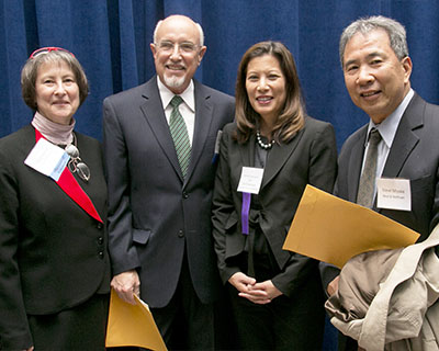 Attorney CJ Kingsley, Mr. Miller, Tani Cantil-Sakauye, Chief Justice of the California Supreme Court, and Attorney Steve Miyake.