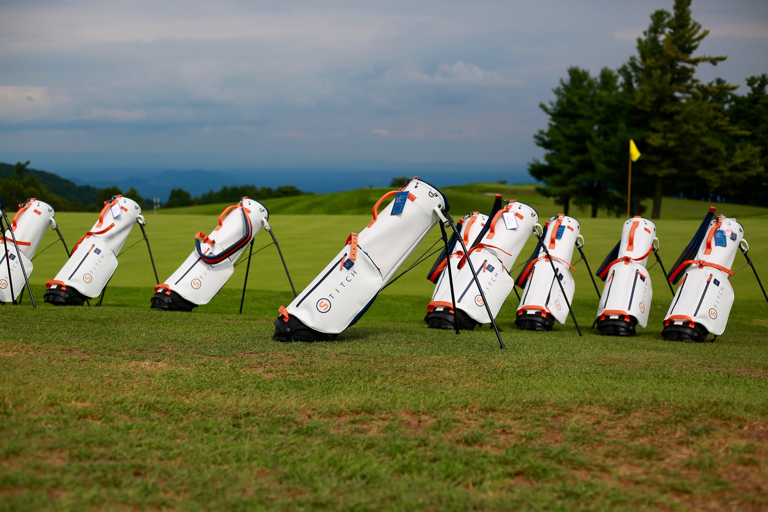 An array of Stitch bags lined up at Roaring Gap Golf Club in late August for a company outing.