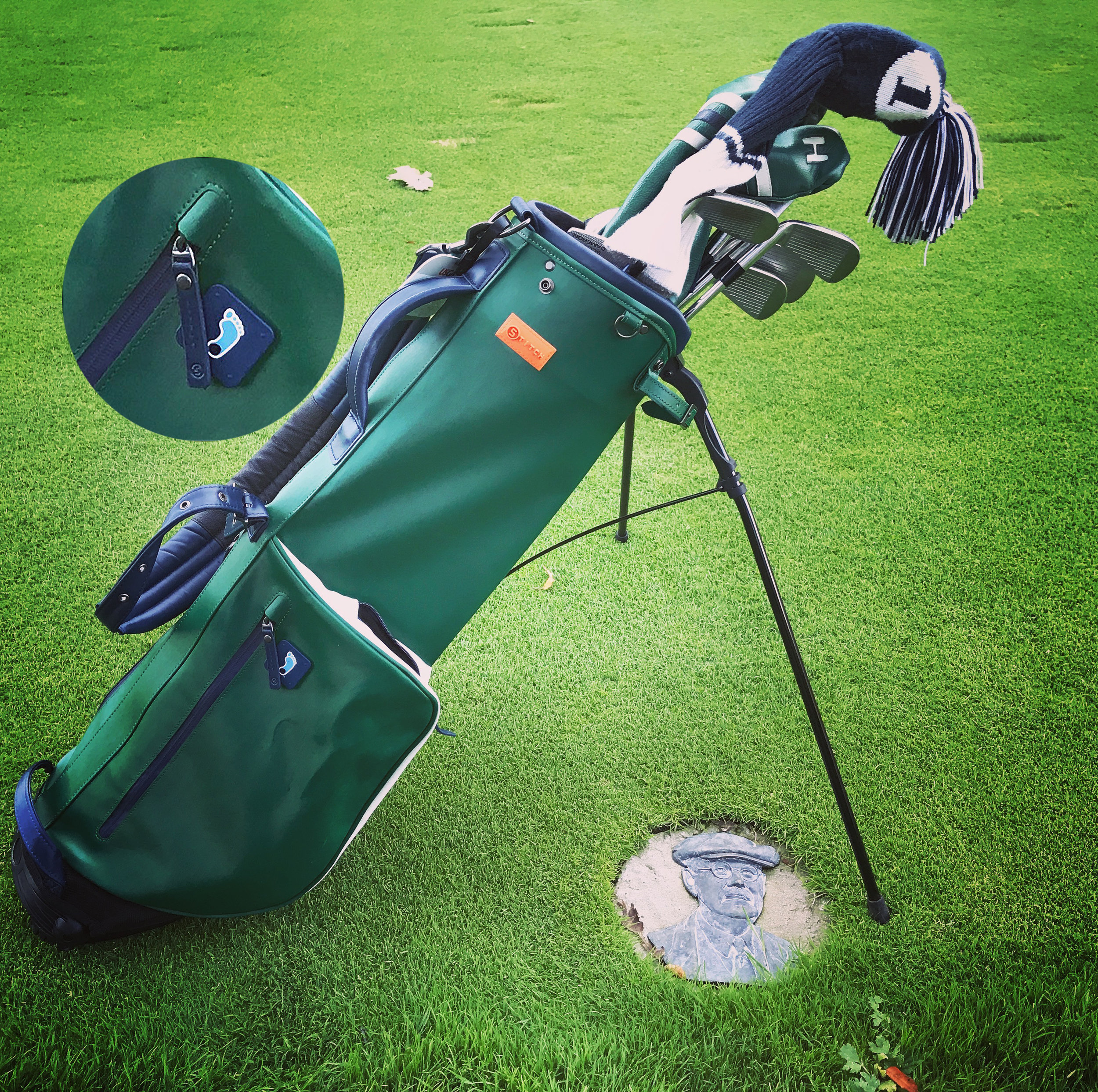 The bag's design has new-world features and an old-world simplicity, making it the ideal companion for a walk around a classic Donald Ross-designed course like the one at Linville Golf Club. Customization for school or club affiliations is a Stitch specialty.