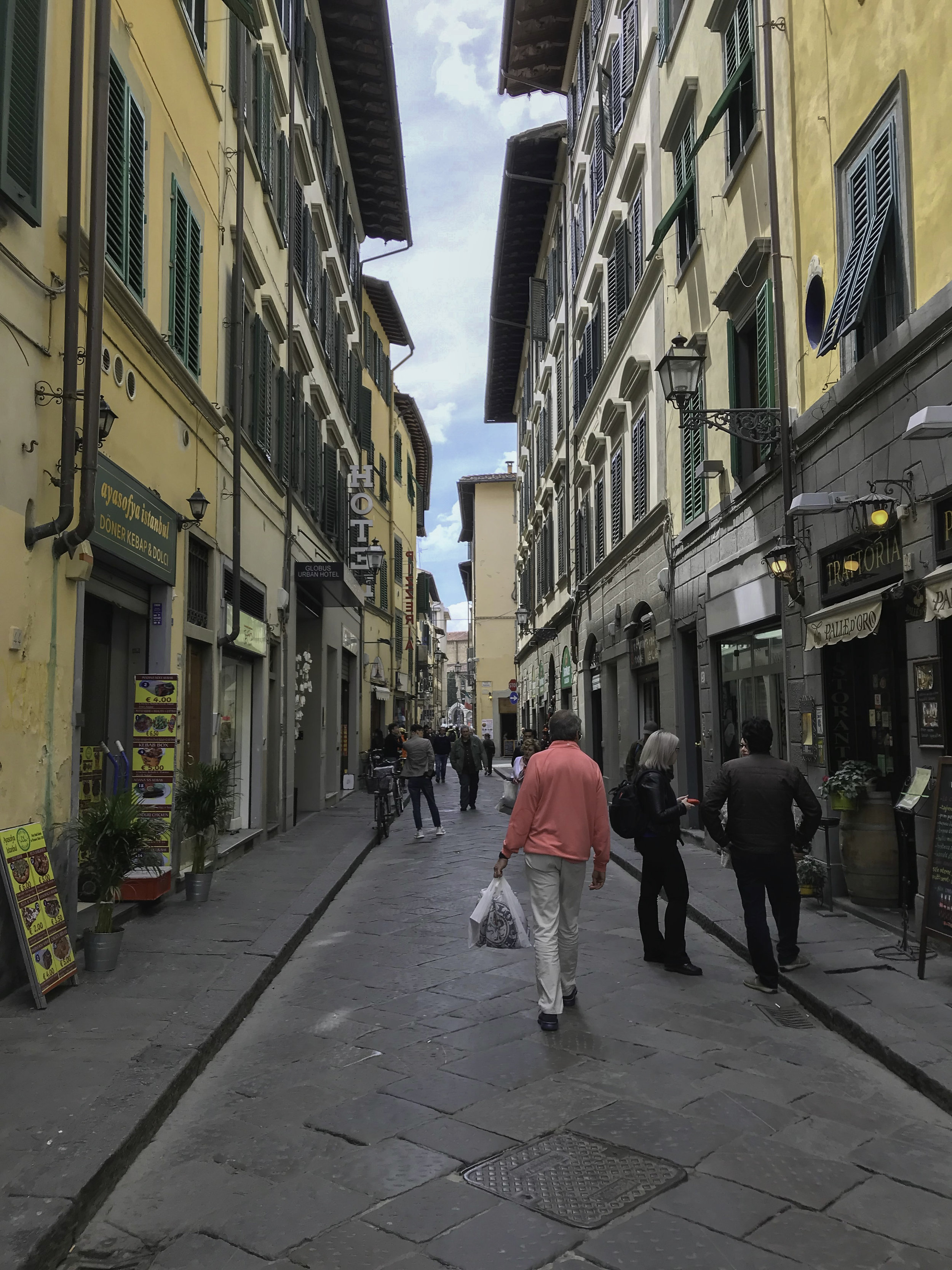 Wandering the narrow avenues of Florence amid leather shops, coffee and gelato bars and pizza parlors.