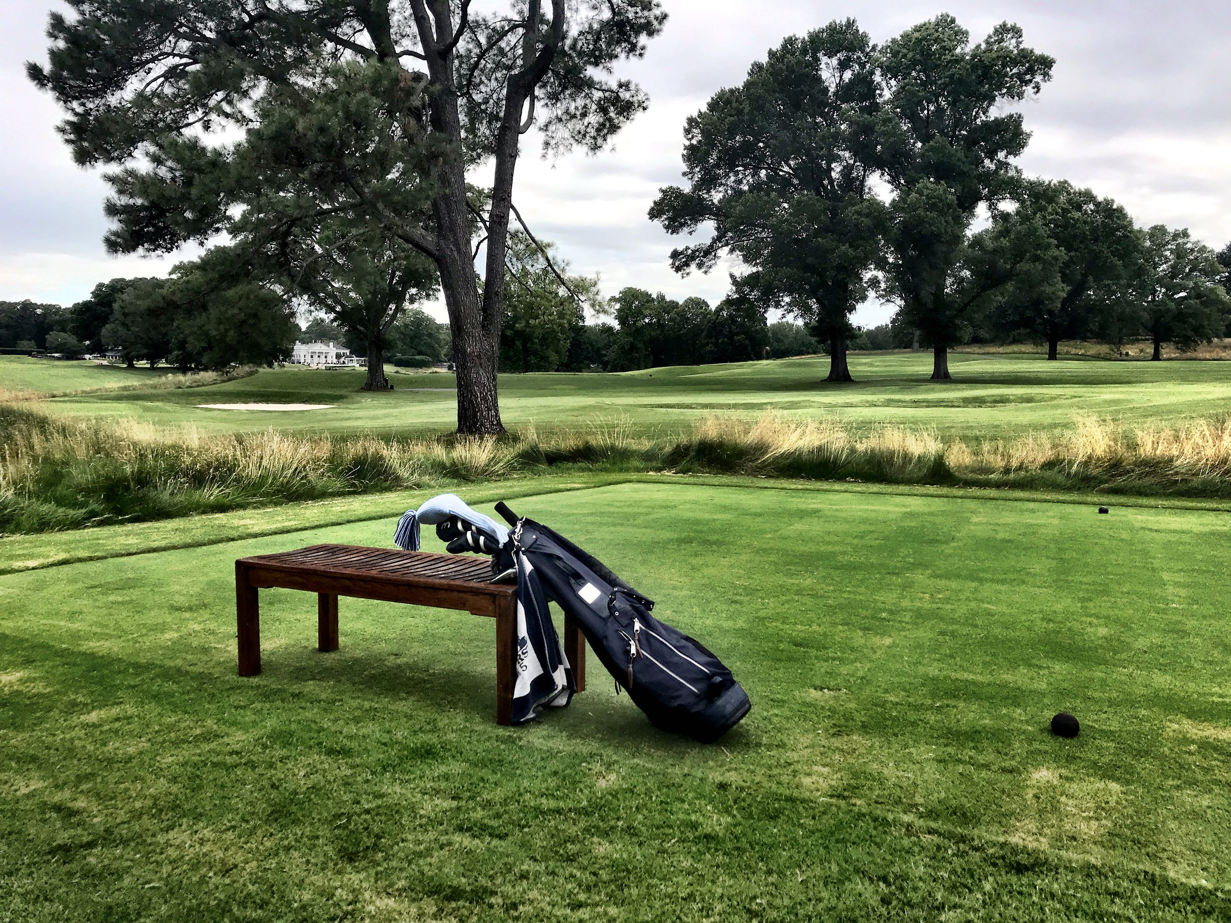 The clean look: Just a handsome wooden bench on the tee of each hole, letting the wispy accent grasses, stately trees and rolling ground dominate the vision.