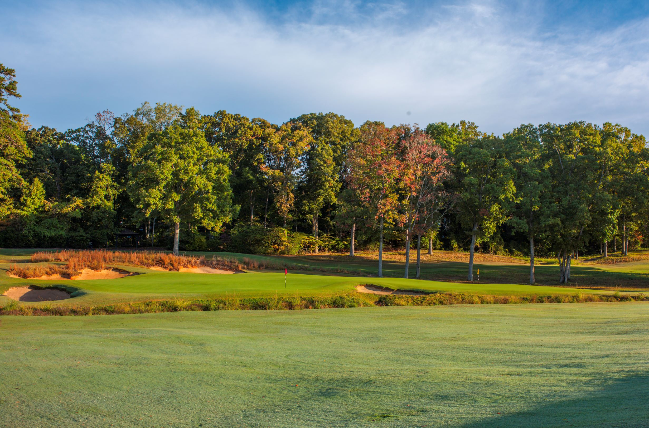 The autumn colors, broomsedge grass, jagged bunkers and Silas Creek frame the double-green at Old Town Club, the red flag on the left the eighth hole and the yellow the seventeenth. (Larry Lambrecht).