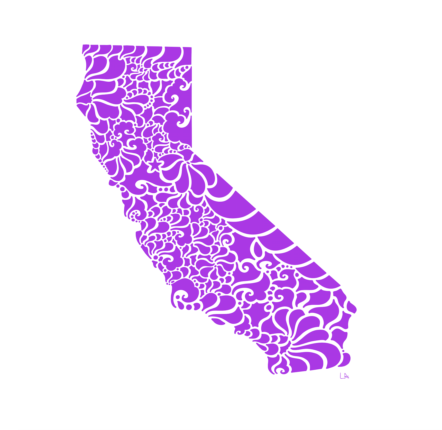Swirly California Print