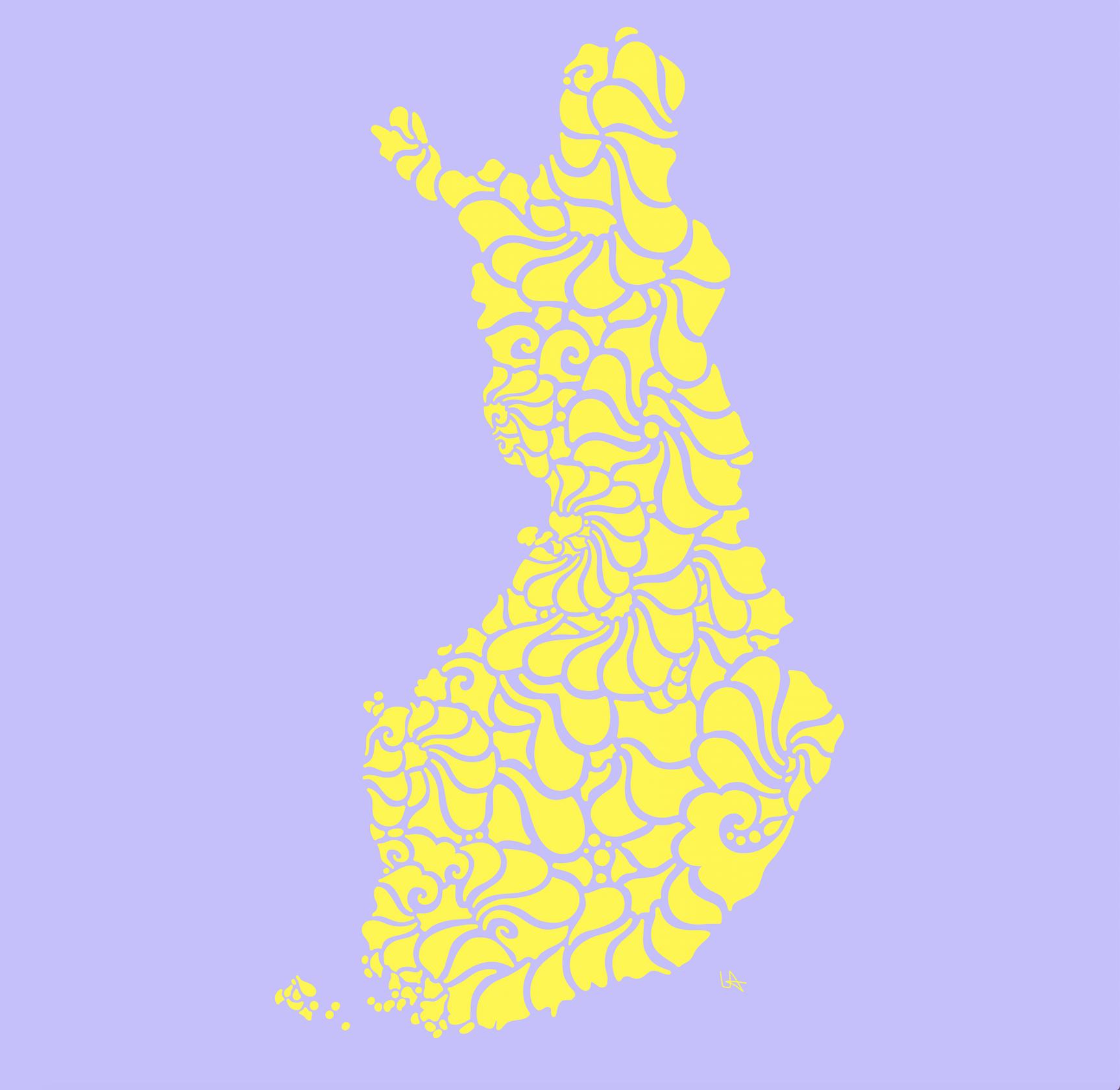 Swirly Finland Print