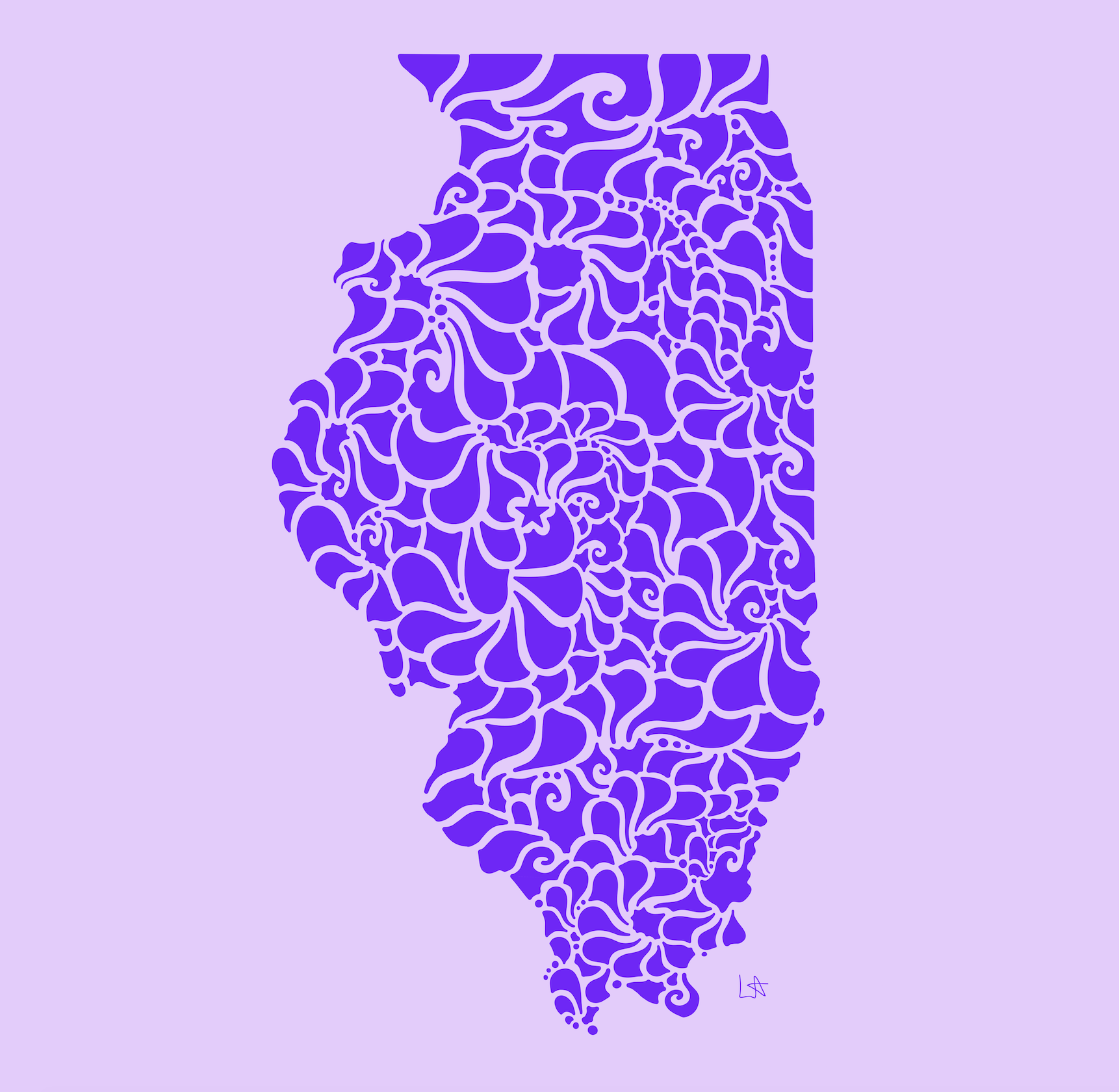 Swirly Illinois Print