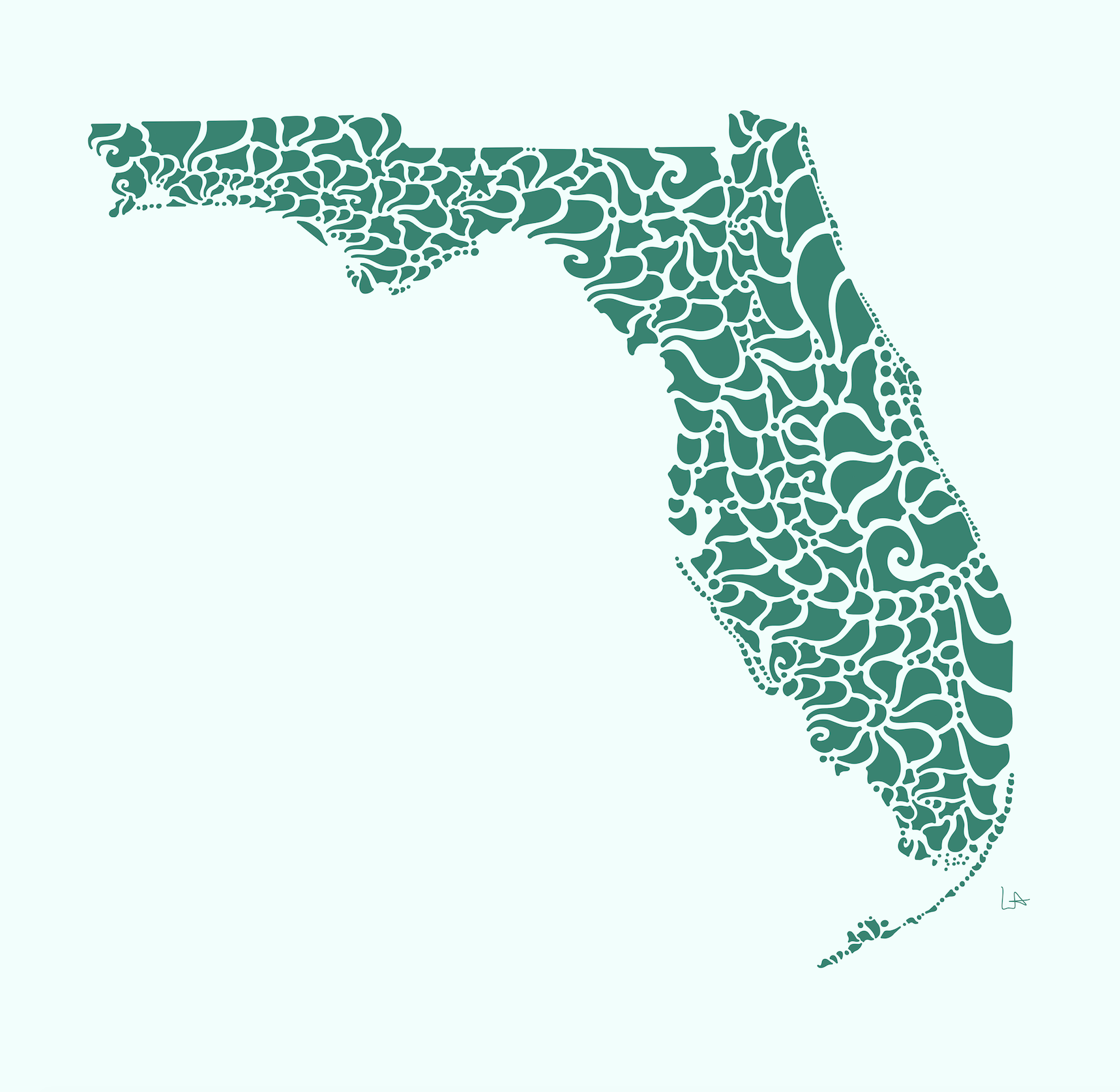 Swirly Florida Print