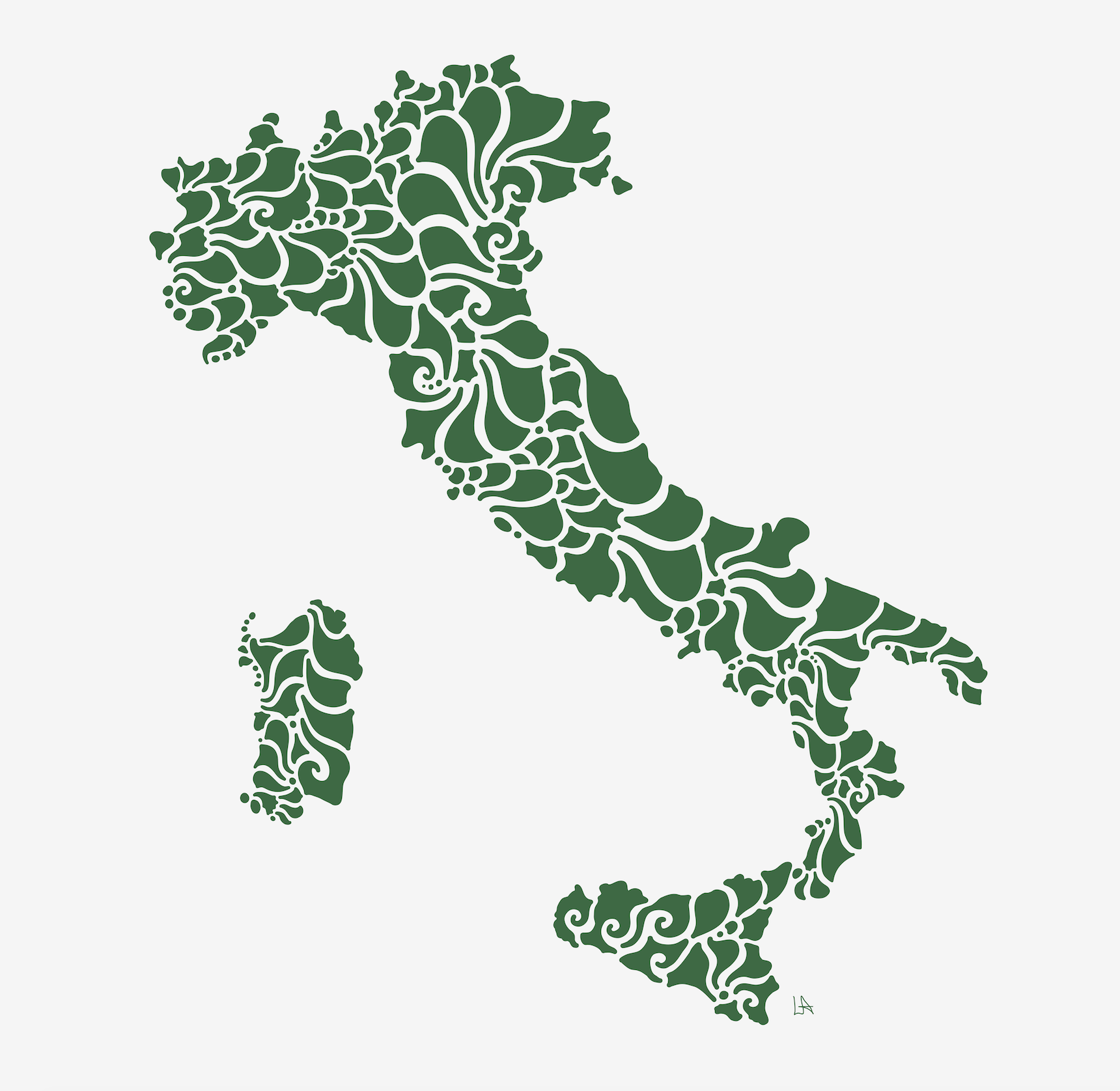 Swirly Italy Print