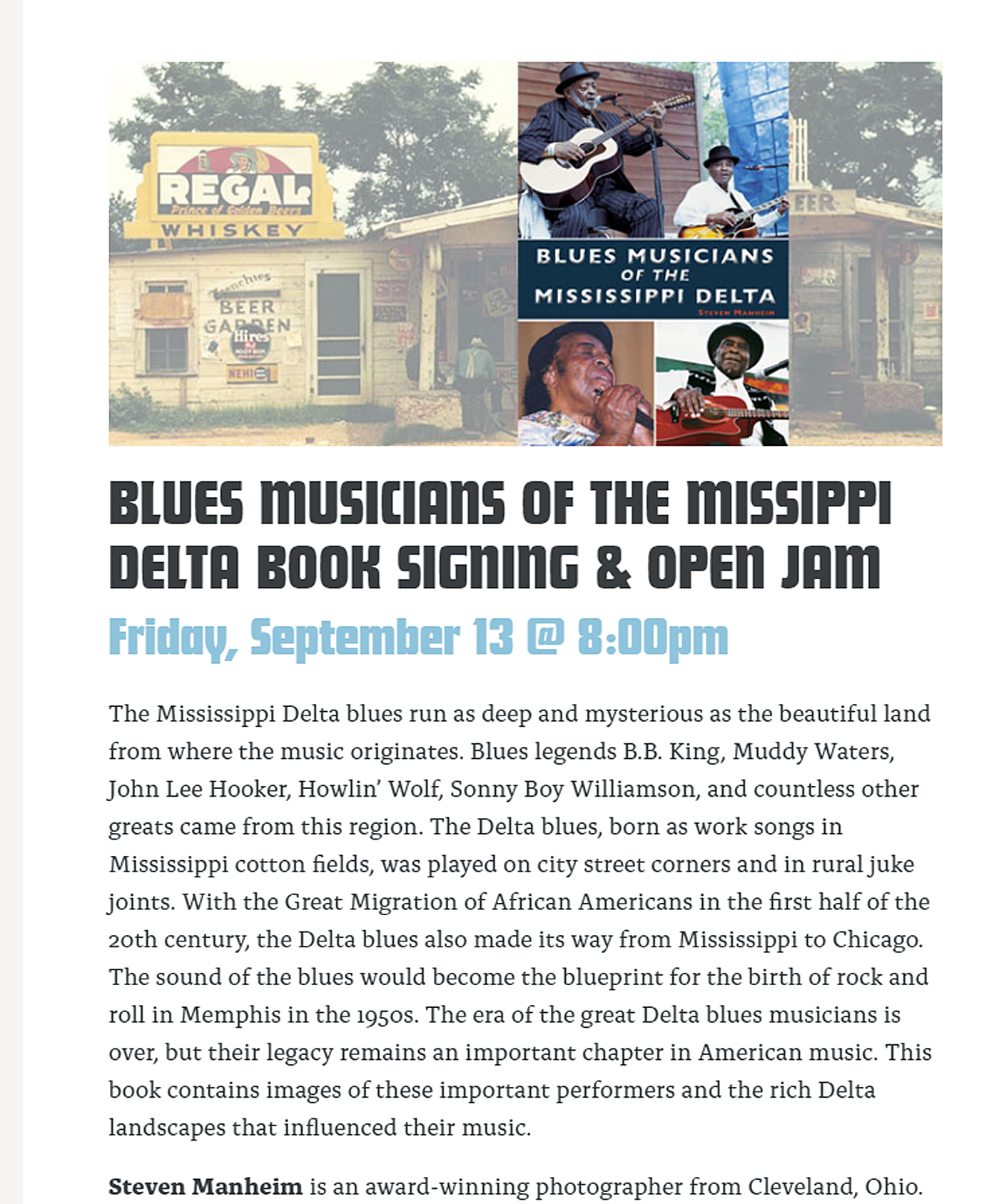 https://www.visiblevoicebooks.com/events/blues-musicians-of-the-missippi-delta-book-signing-open-jam/