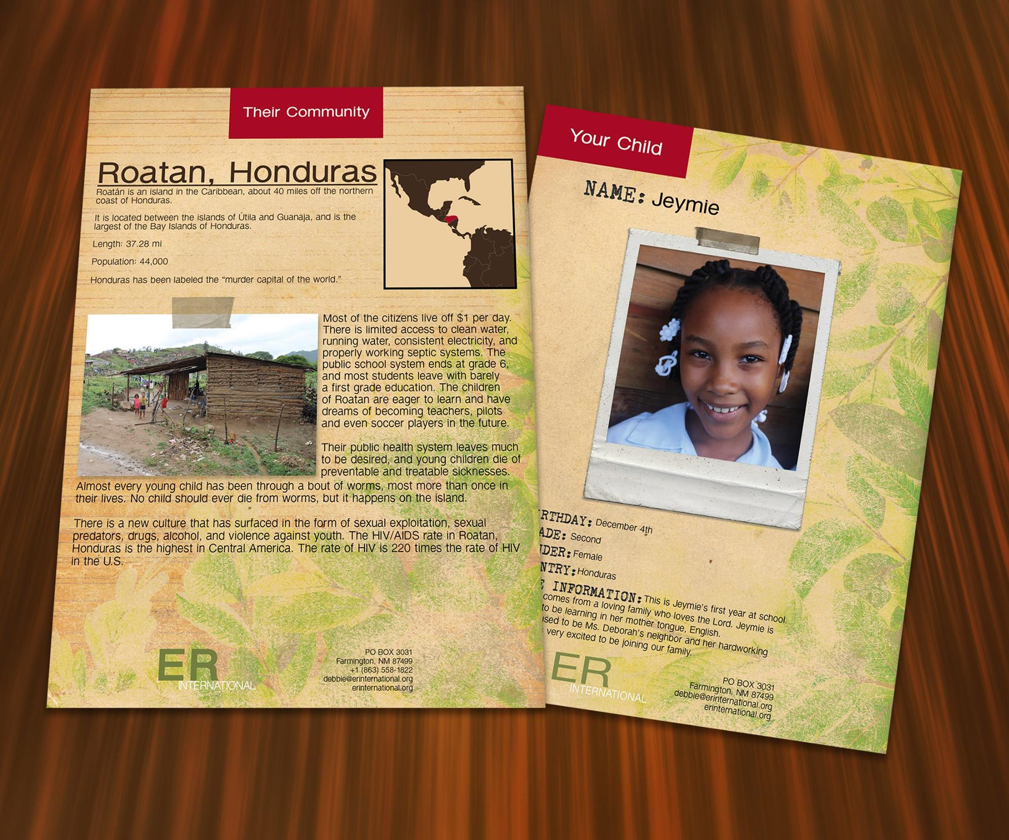 ER International - I created all of their printable of their child sponsorships. This included business cards, information about their communities and pamphlets.