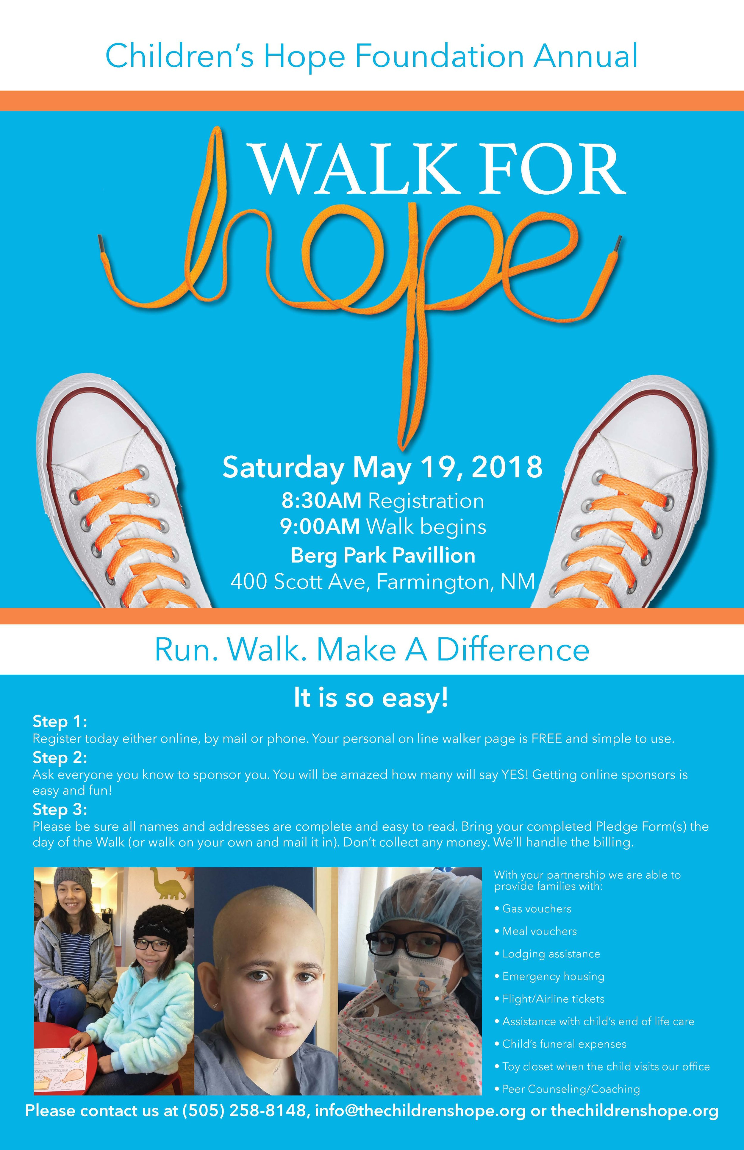 Walk For Hope - Children's Hope Annual fun walk fundraiser.I created all promo material and website page creation.