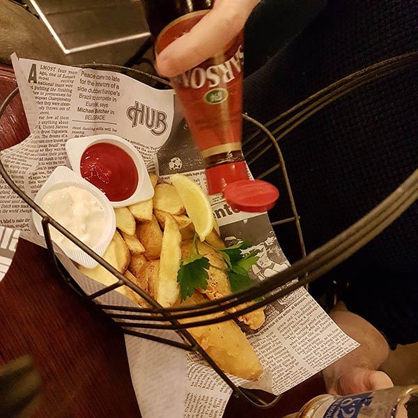 Fish 'n' chips served in The Hub. Image source: authors own image