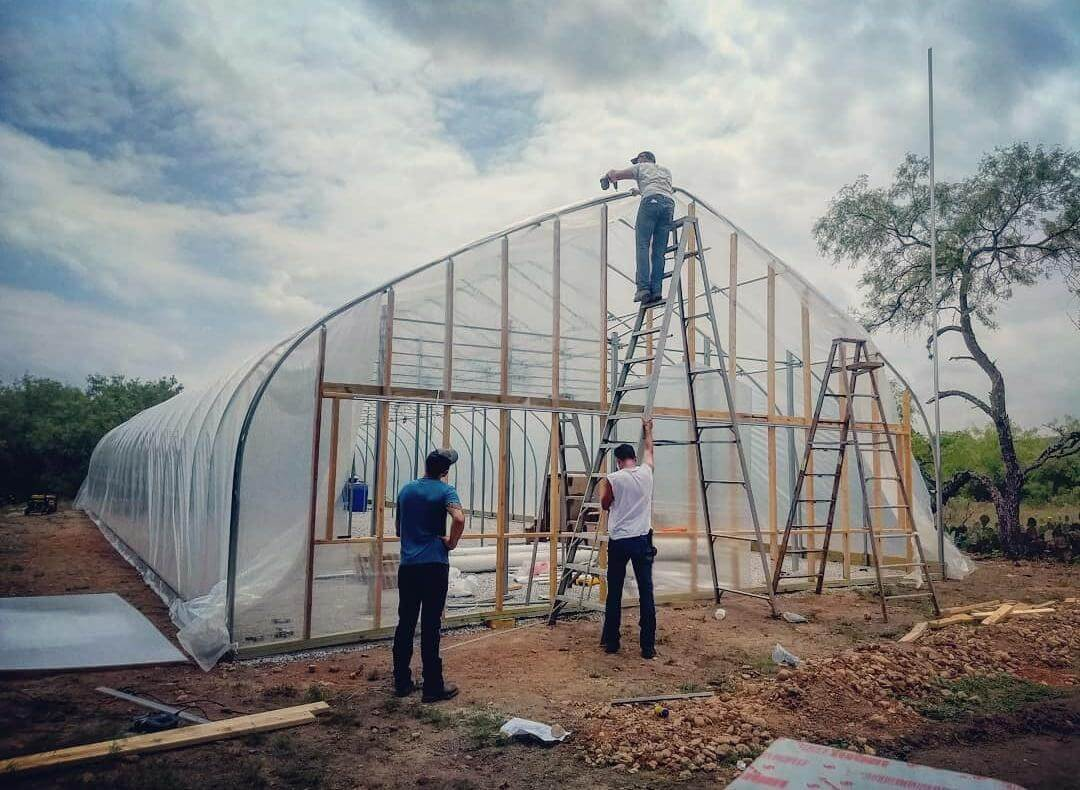 Hops greenhouse covered