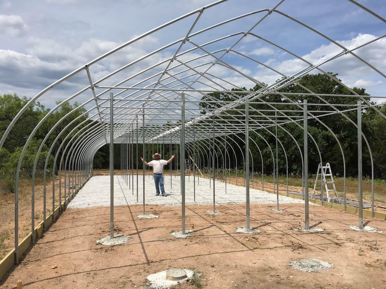 Hops greenhouse framed up