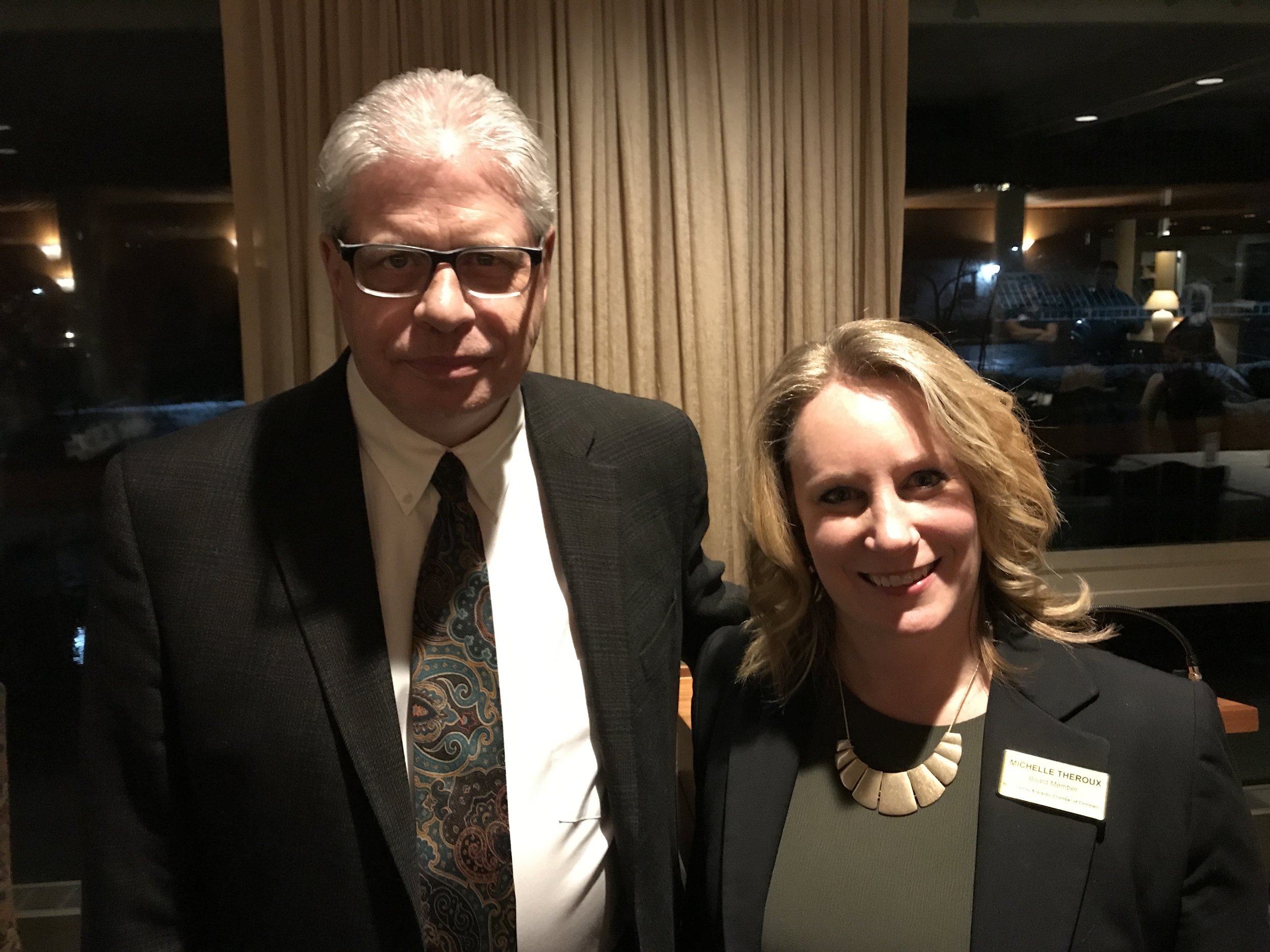 Michelle Theroux, newly elected President of the South Hadley & Granby Chamber of Commerce and Keynote Speaker George O'Brien, Editor of BusinessWest at the Chamber's Annual meeting at Willits-Hallowell Center.