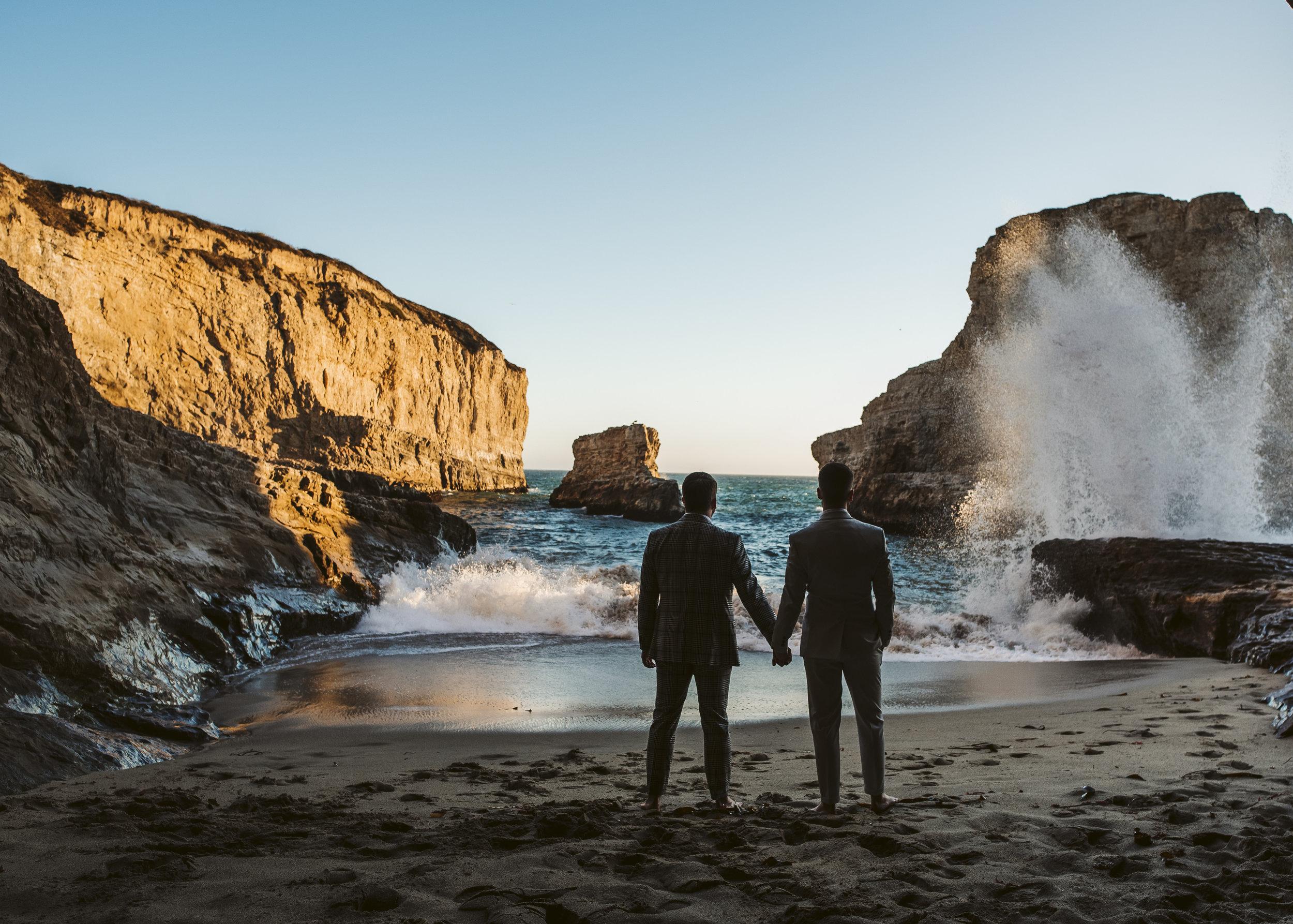 Derek & Jason - Shark Fin Cove at Sunset