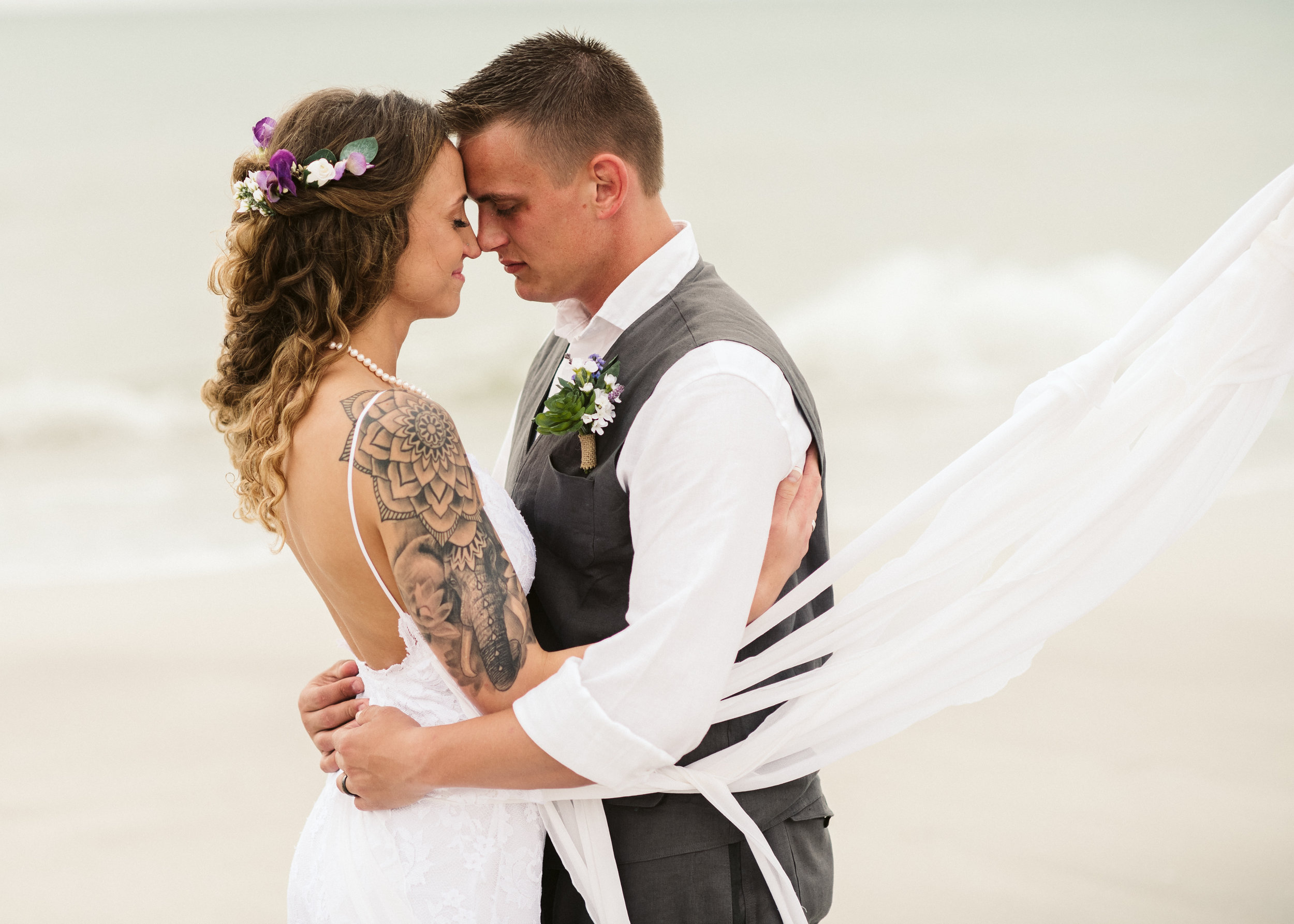 Tara & Adam - Stormy Beach Wedding