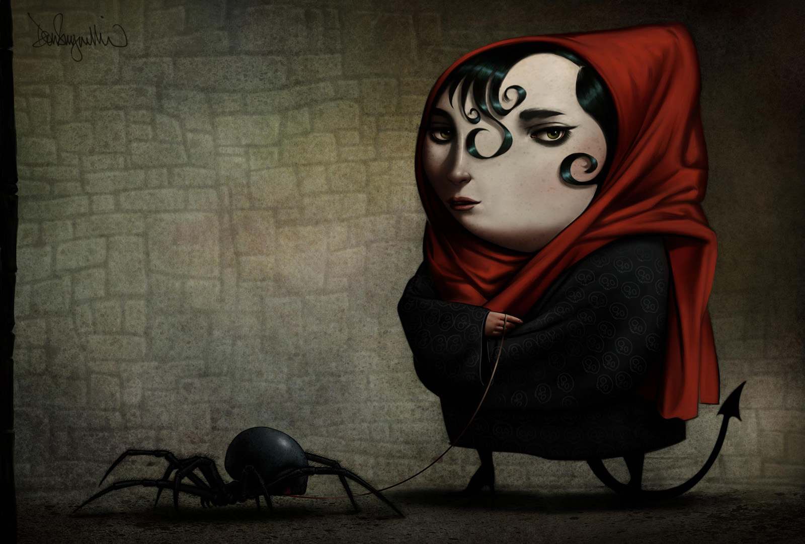 """4.""""Girl Walking Her Pet Spider"""" Self promotional piece featured in Spectrum 19, an international show """"of the worlds best contemporary fantasy art."""" Medium: Mixed.Scale/Resolution: 12"""" x 18"""".Year Created: 2011"""