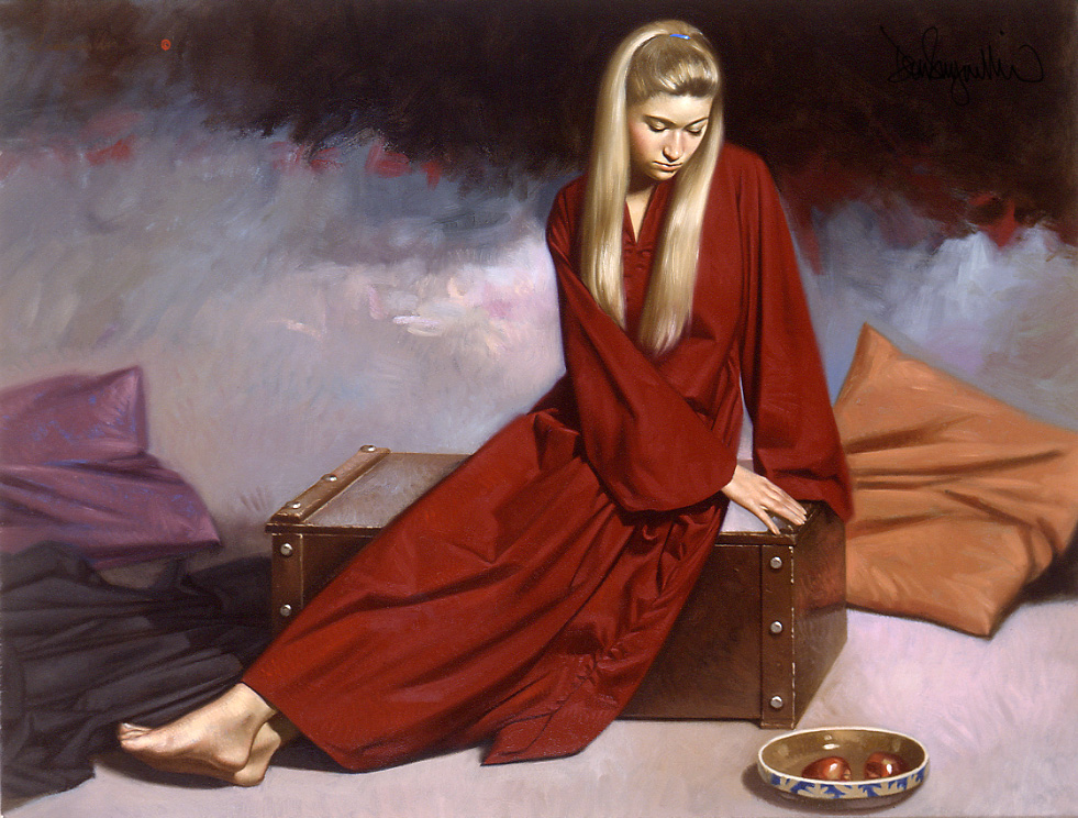 """15.""""Red Robe"""" Traditional oil painting. Medium: oil on hardboard.Scale/Resolution 16"""" x 20"""". Year Created: 2000"""
