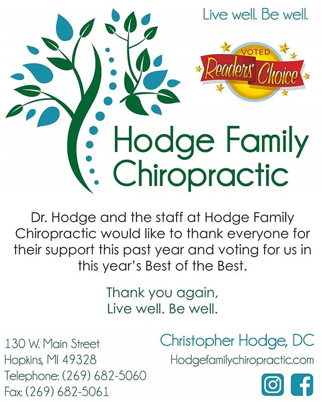 Thank you for your votes as Allegan County's Favorite Chiropractor! We are humbled by this community and our patients support. It is an honor to serve all of you! #hodgefamilychiropractic