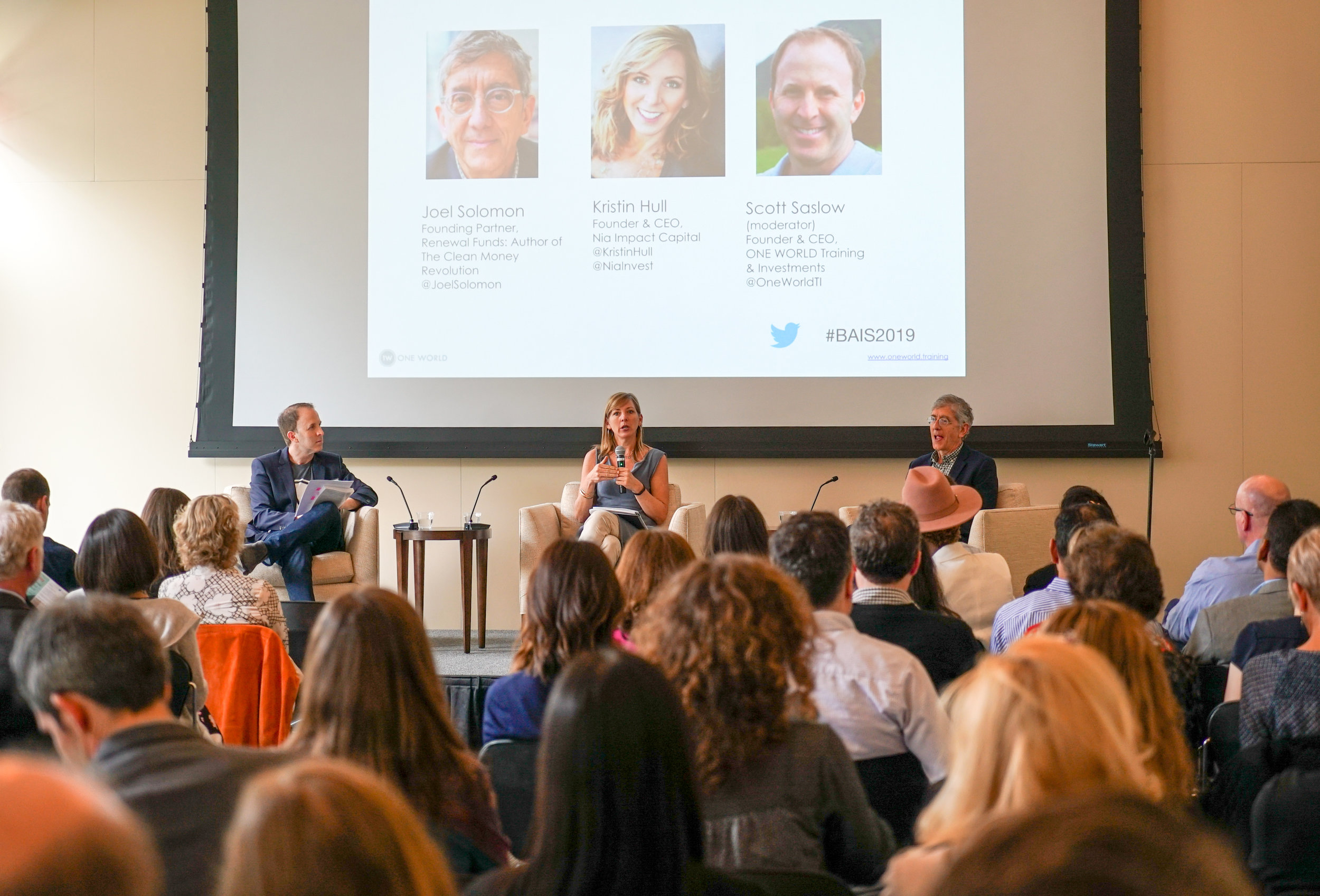 ONE WORLD founder Scott Saslow moderates a conversation with Kristin Hull, founder and CEO of NIA Capital and Joel Solomon, founder of Renewal Funds.