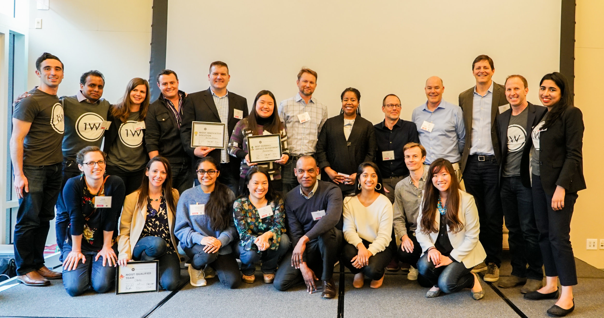 The pitching entrepreneurs, judges, speakers and ONE WORLD team members at the 2019 BAIS.