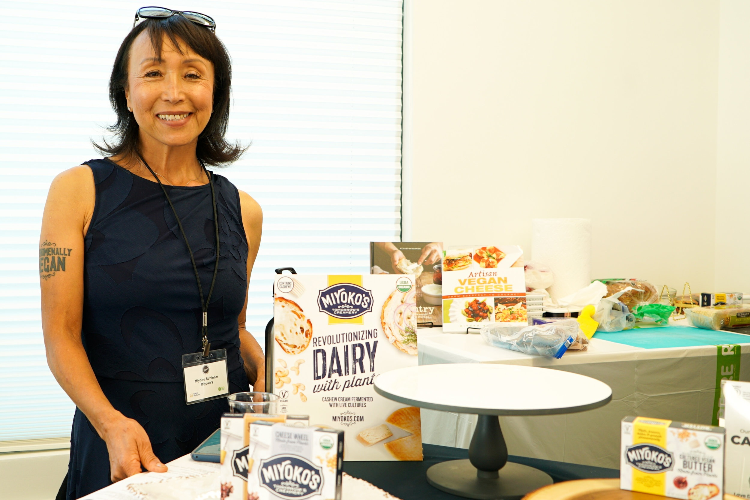 "Chef Miyoko Schinner shared a variety of her amazing plant-based vegan ""cheese"" products."