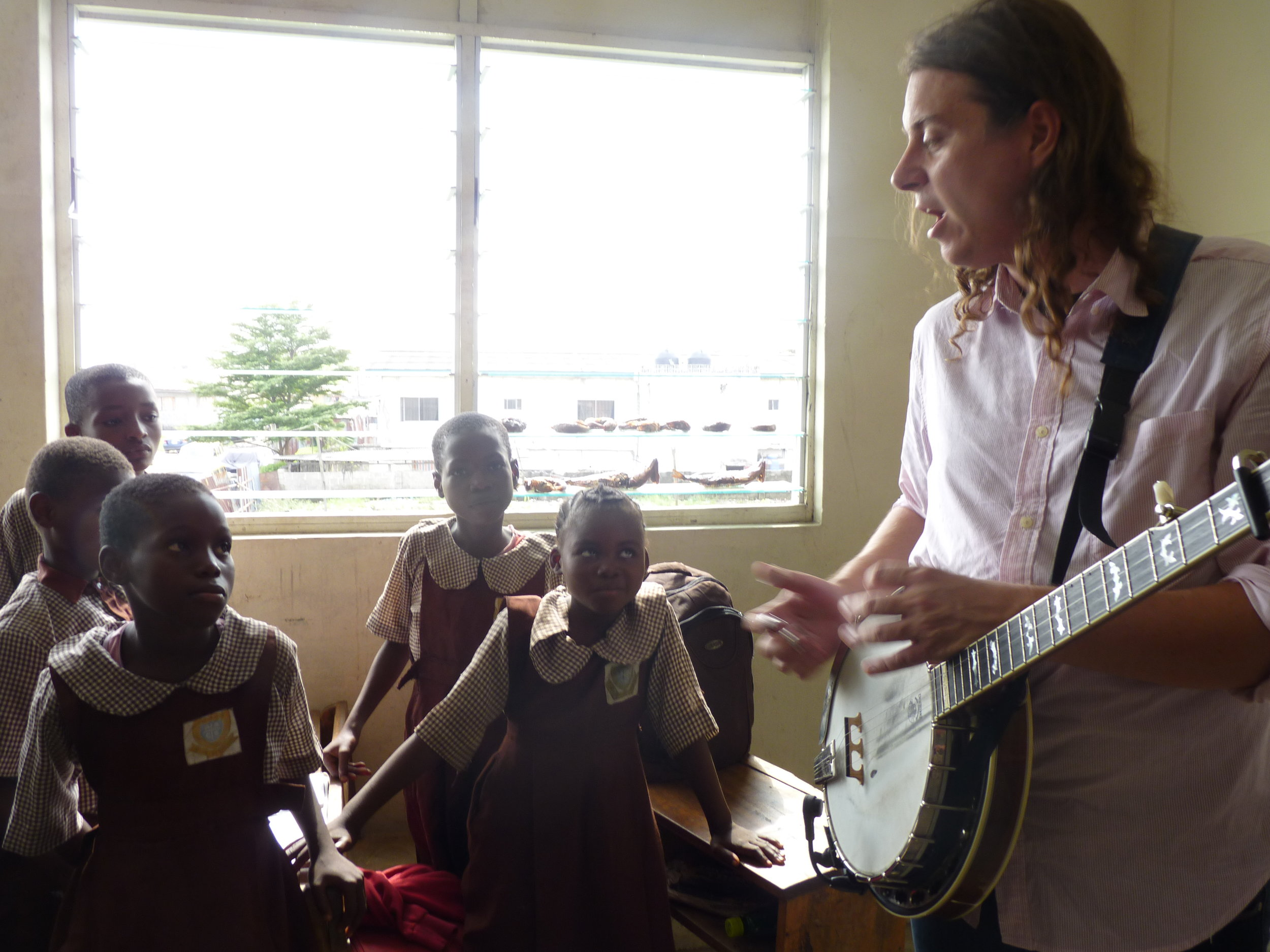 Sometimes the band breaks the classes into smaller groups, bringing them back together in for collaborative sessions
