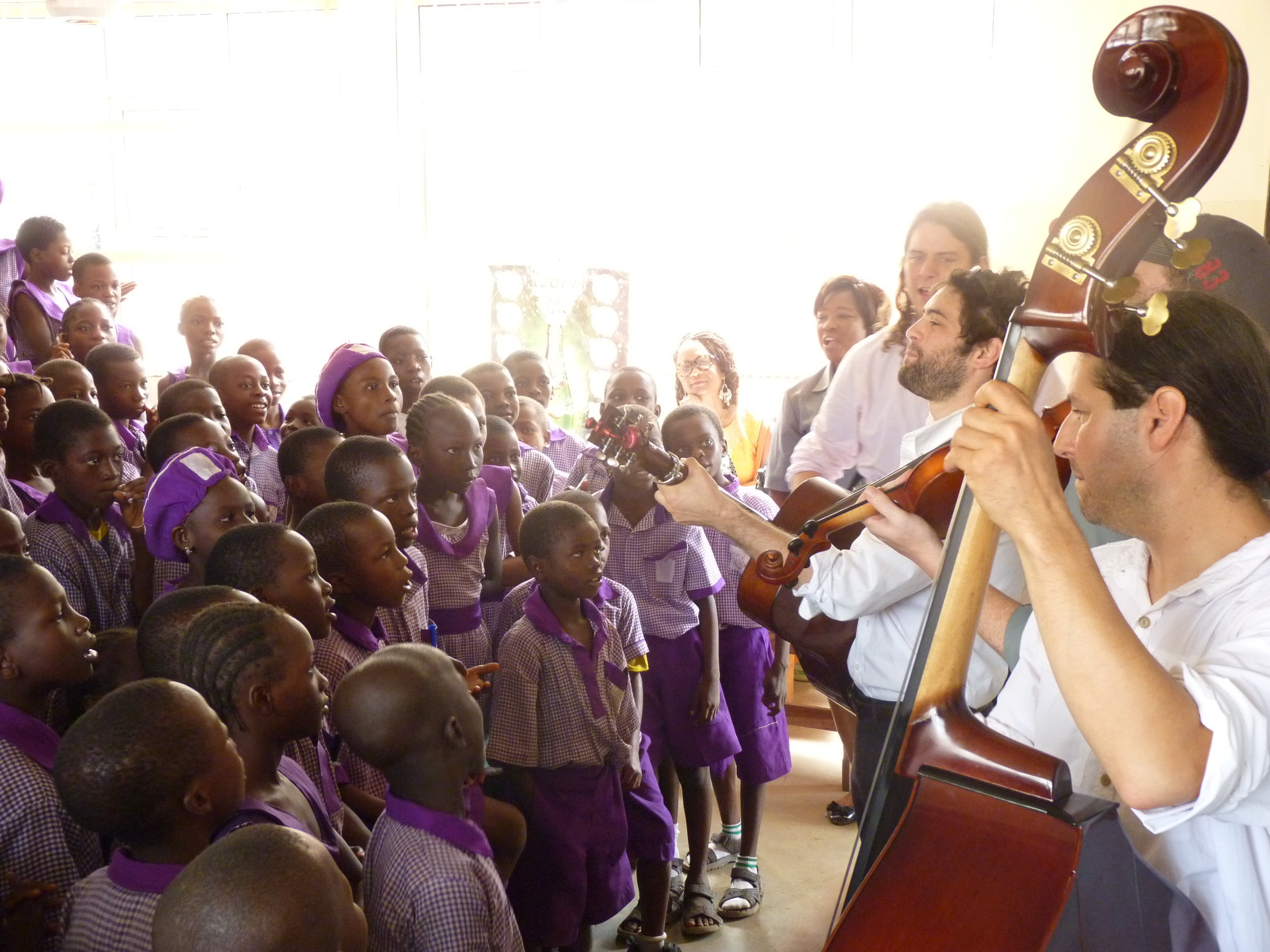 Each classroom had around 30 students and the band would do 15 minute workshops, running room to room.