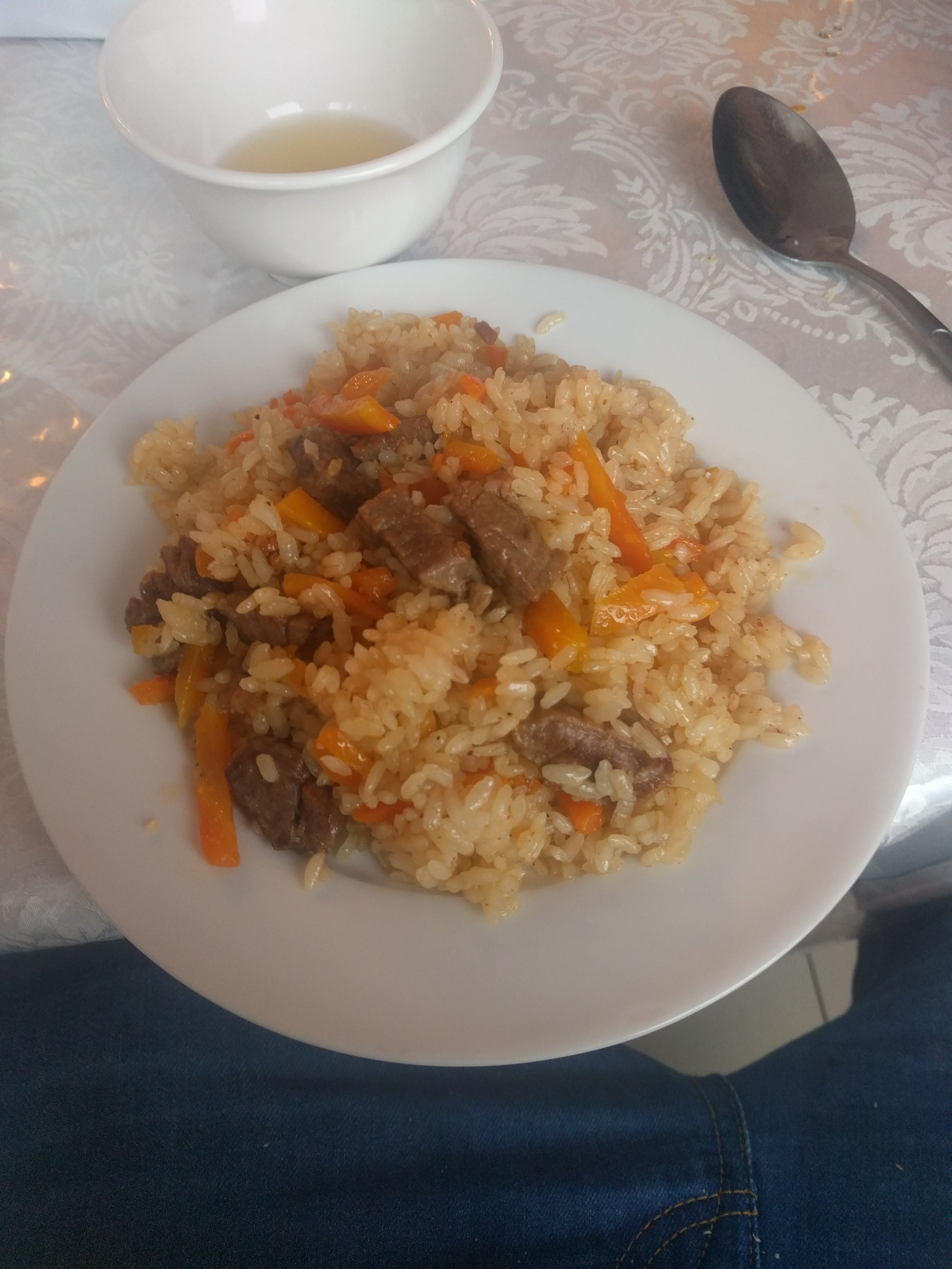 Plov! Beef, rice, carrots and fat. Perfect for climbing a mountain. This was lunch at a lodge before we headed up.