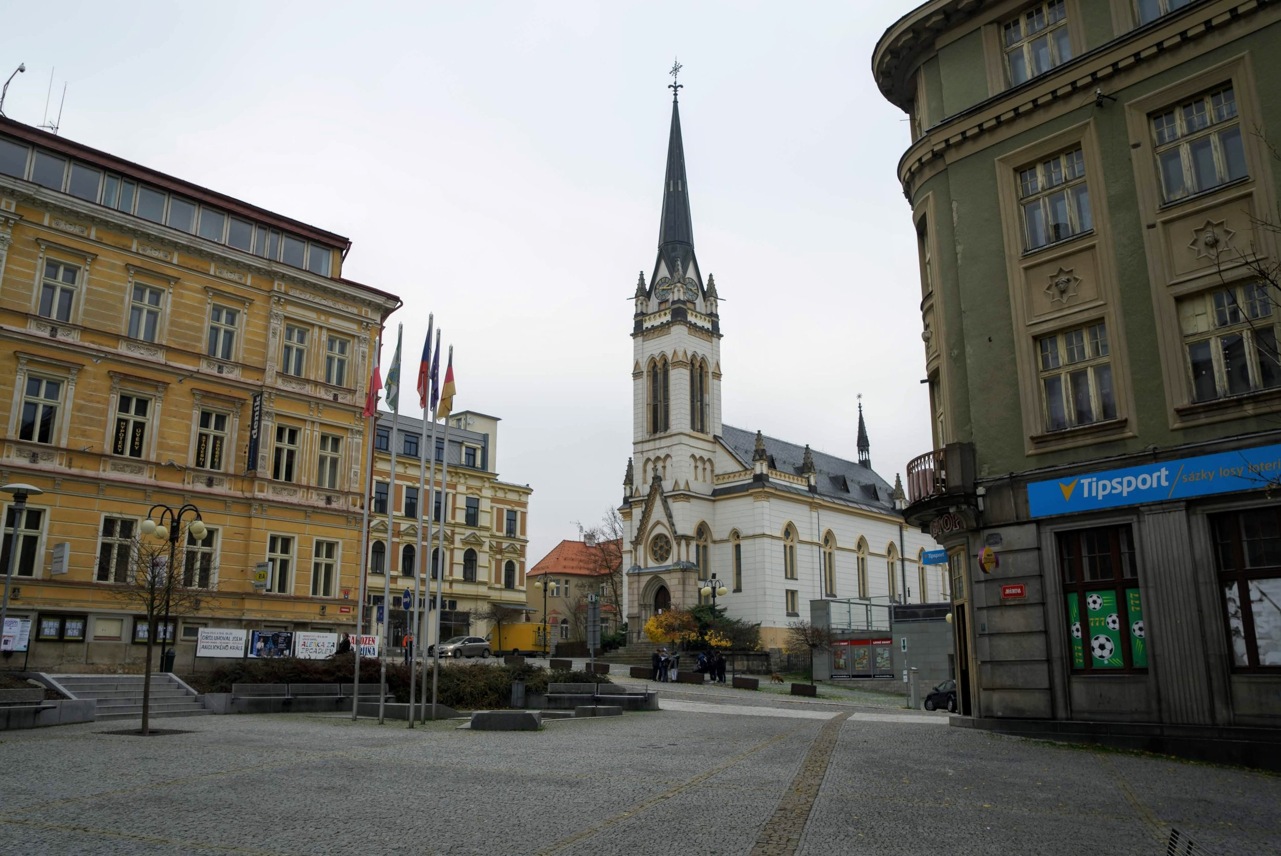 A town square of Jablonec Nad Nisou. Translated as Jablonec on the Nisa River.