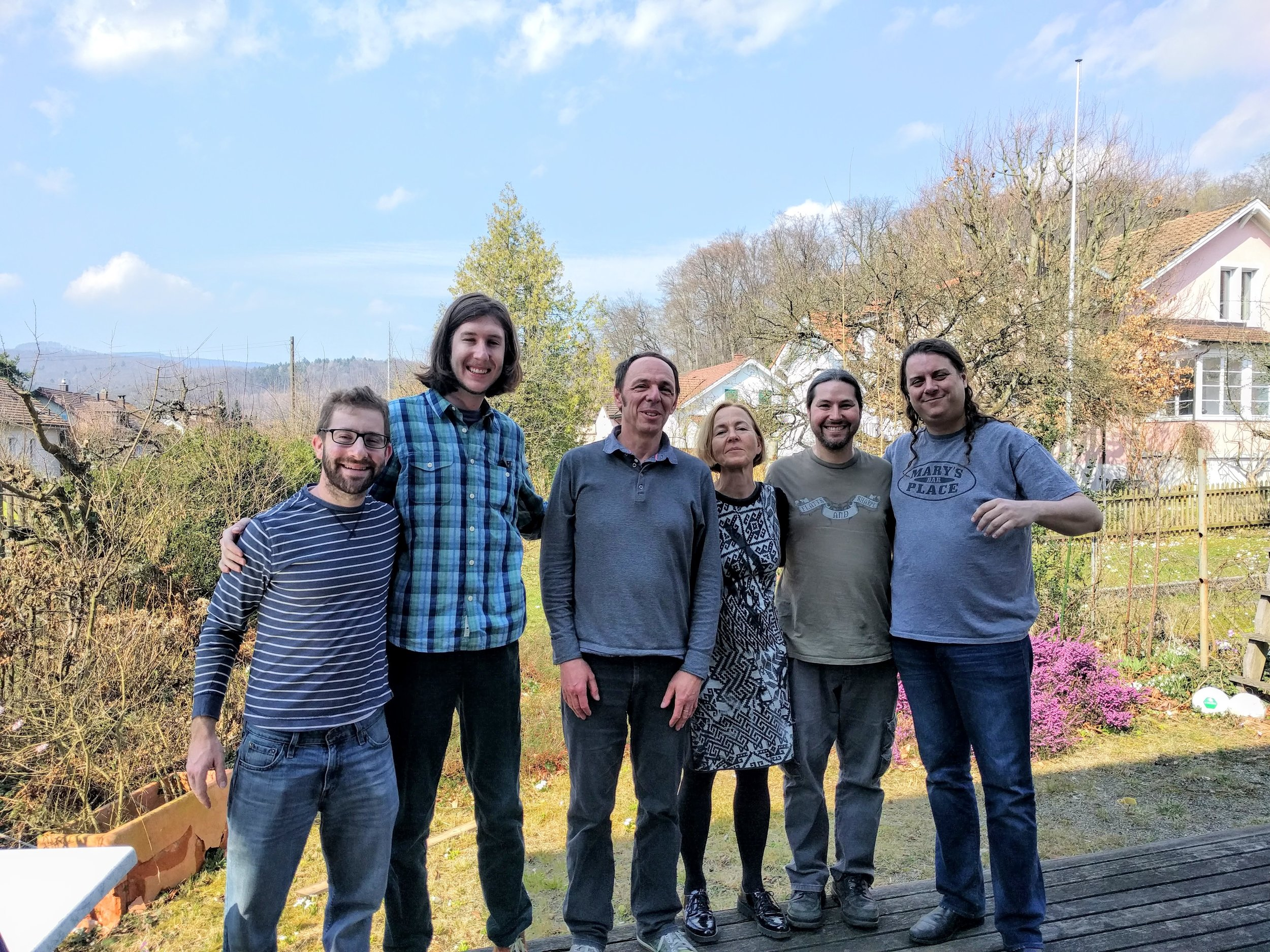 Martin, his wife Susannne + band in their backyard in 2017