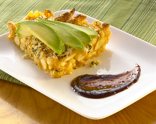 Mac & Cheese Pie with Avocado and Stout Sauce