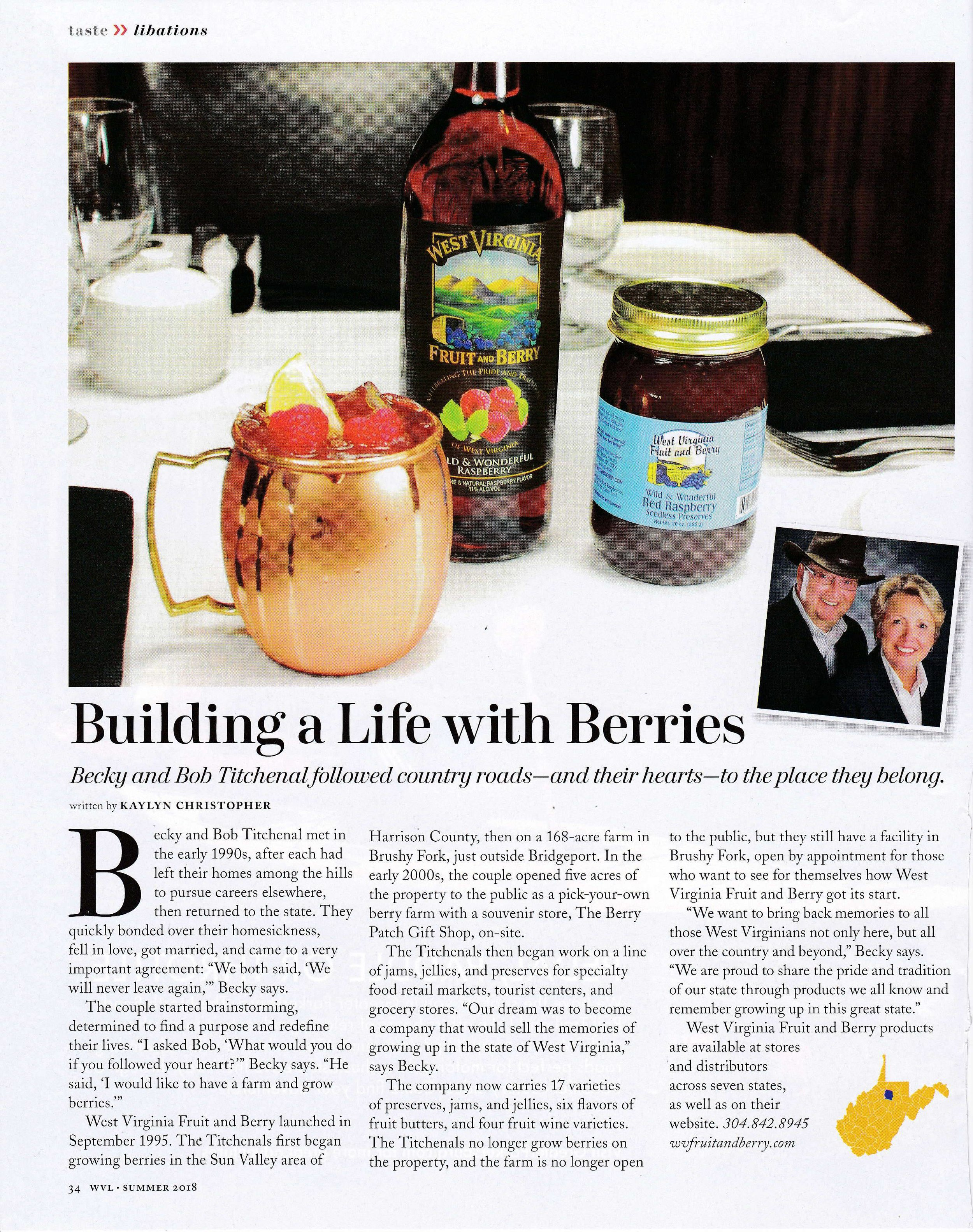 Article in WV Living Magazine - Summer 2018 edition