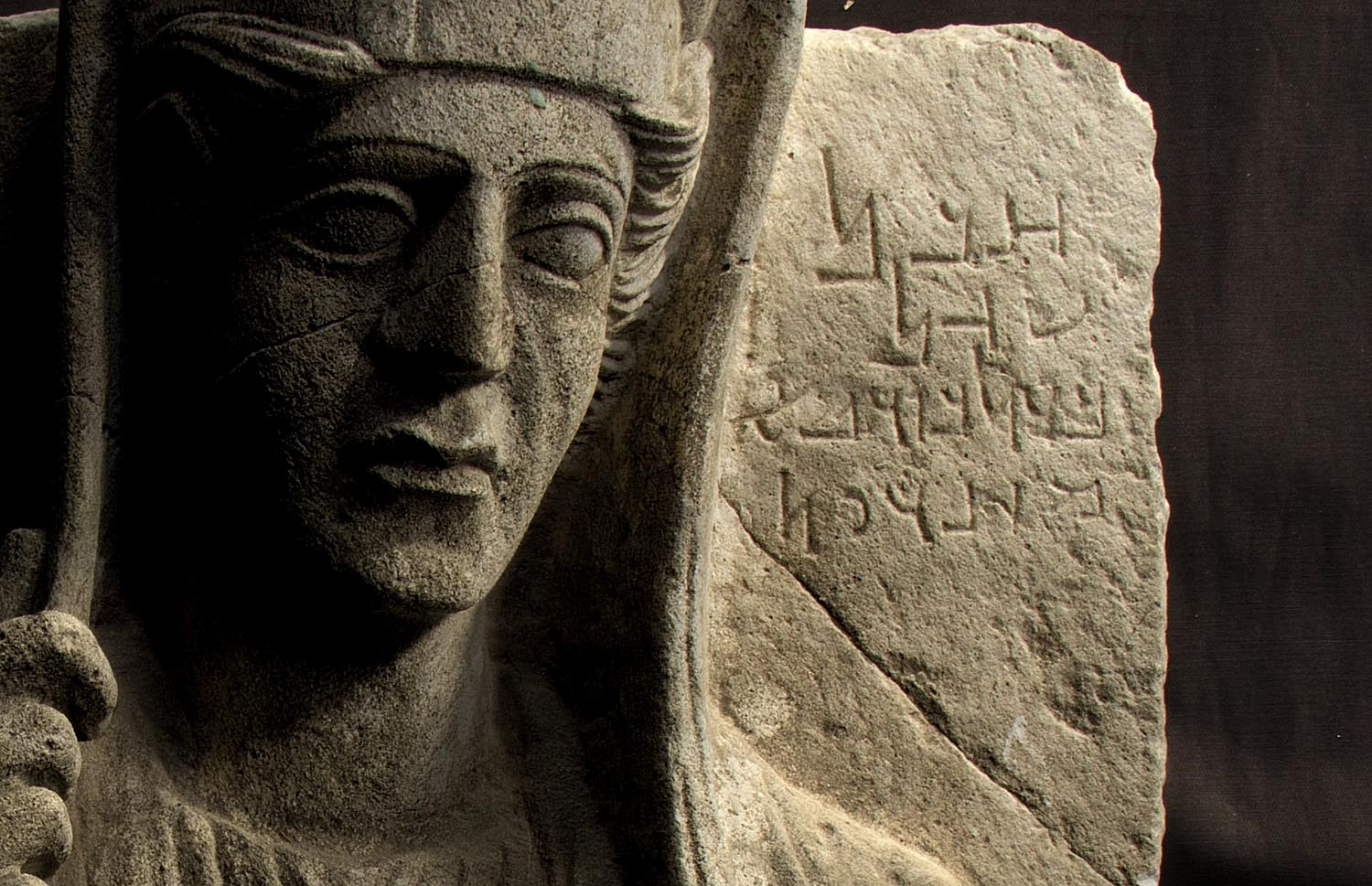 """Above : """" PAT 0908 ,"""" a resident of the Yale University Art Gallery, studied by the  Wisconsin Palmyrene Aramaic Inscription Project .   Photography by Nathaniel Greene and Catherine Bonesho, via the WPAIP gallery."""