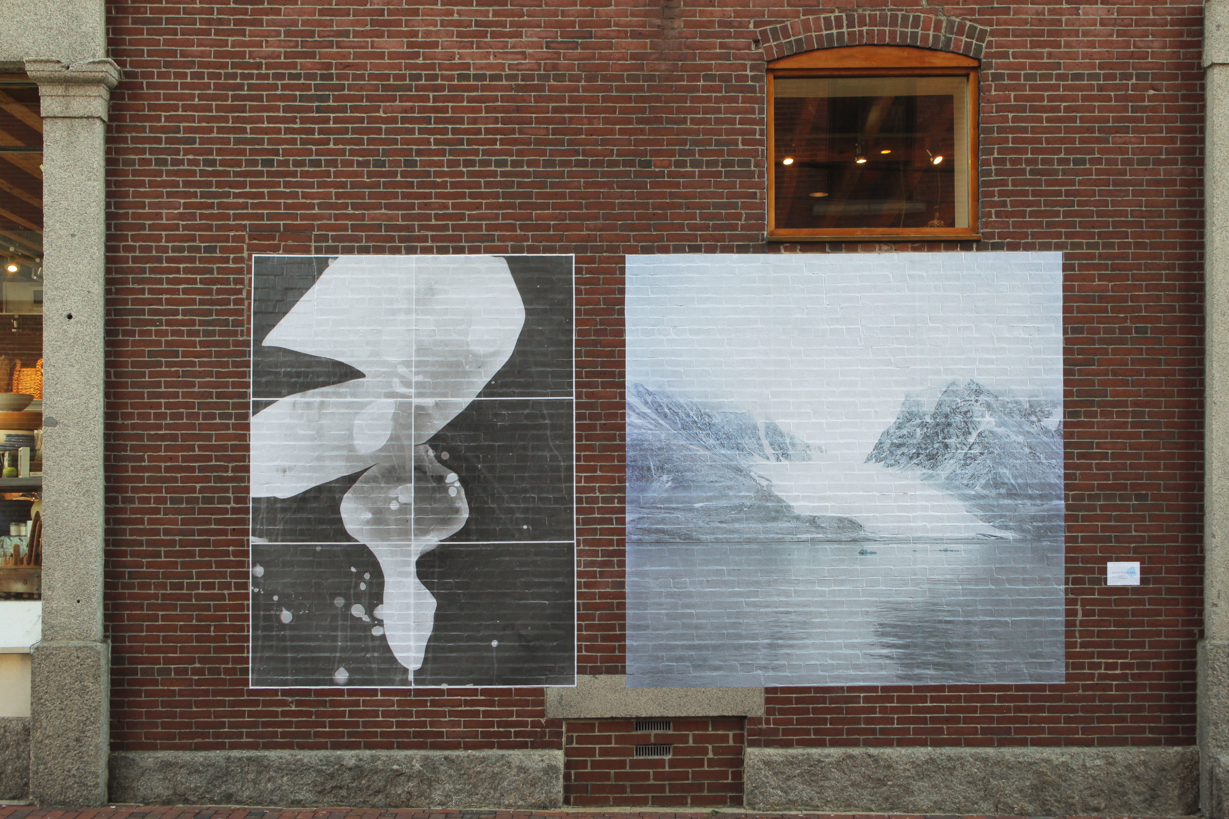 "Mural installed Portland , Maine : November 8, 2017, Size: 96""x174"" Pairing includes:  Photogram , Blackstone Glacier Ice and  Photograph , Magdalenafjord Glacier, Svalbard, Norway Images © Shoshannah White"