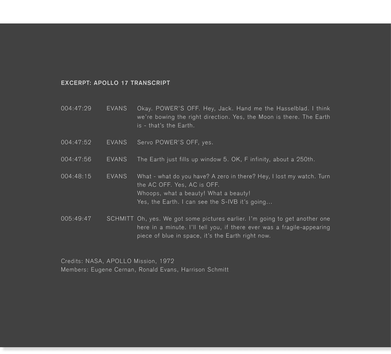 Apollo 17, Transcript and Photo courtesy of   NASA  .