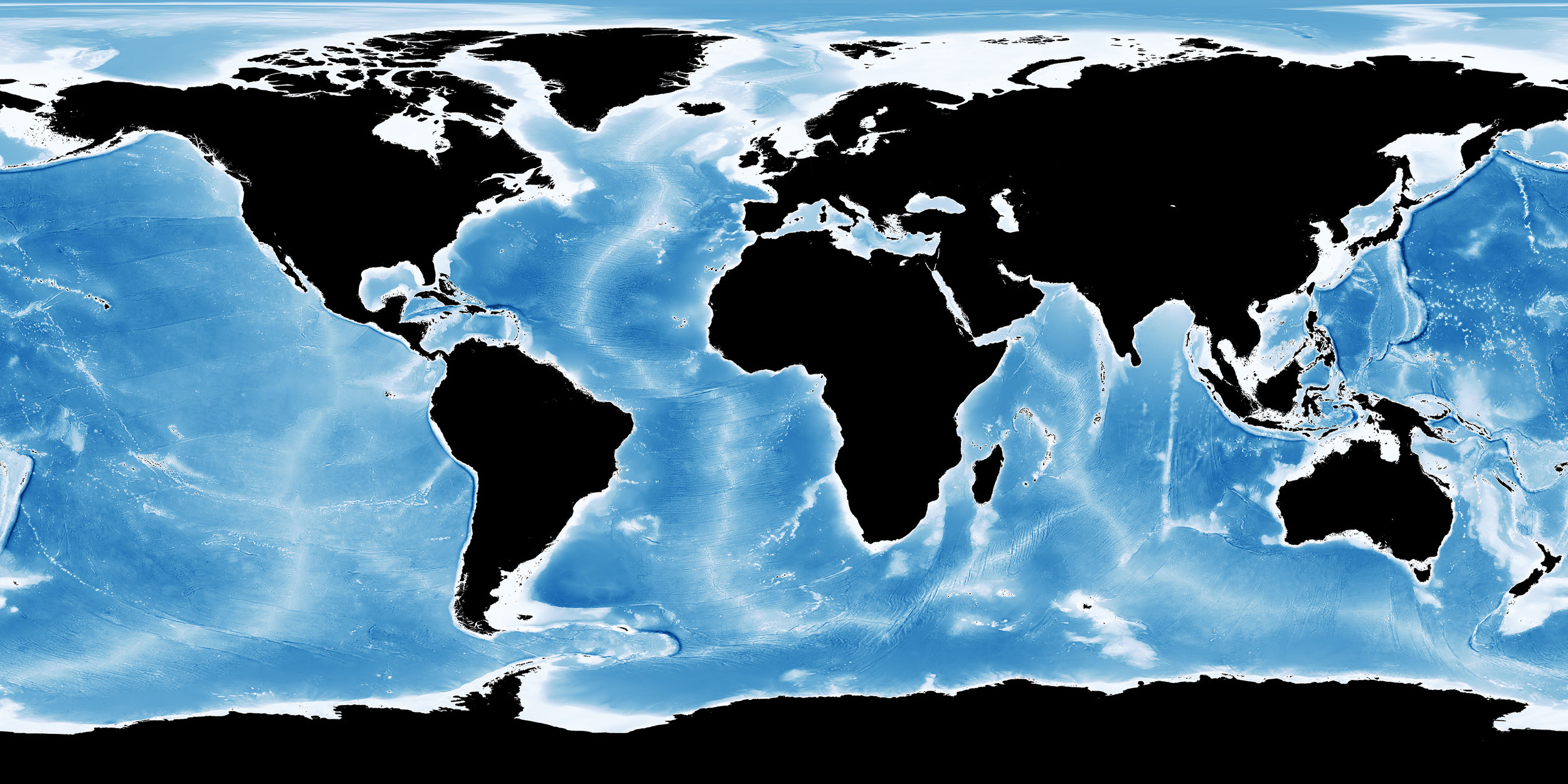 Bathymetry image from NASA showing a digital image of water depth where shading shows changes in slope or depth.  Credit: Imagery by Jesse Allen,  NASA's  Earth Observatory, using data from the General Bathymetric Chart of the Oceans (GEBCO) produced by the British Oceanographic Data Centre.