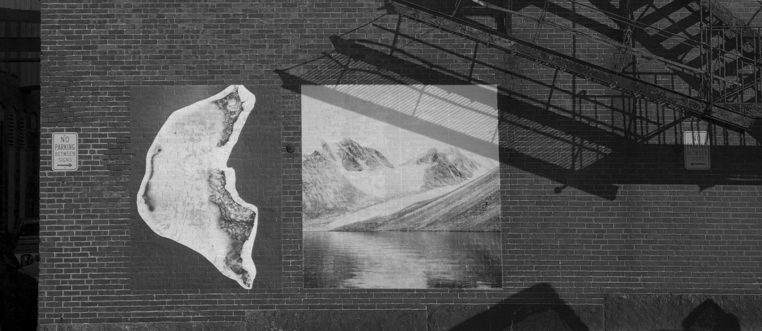 "CHATTERMARK mural installed  B iddeford, Maine: November 9, 2017, Size: 96""x174"" Pairing includes: Photogram ,Beloit Glacier Ice #2  Photograph , Madgalenafjord, Graveneset Glacier, Svalbard, Norway  Images © Shoshannah White"