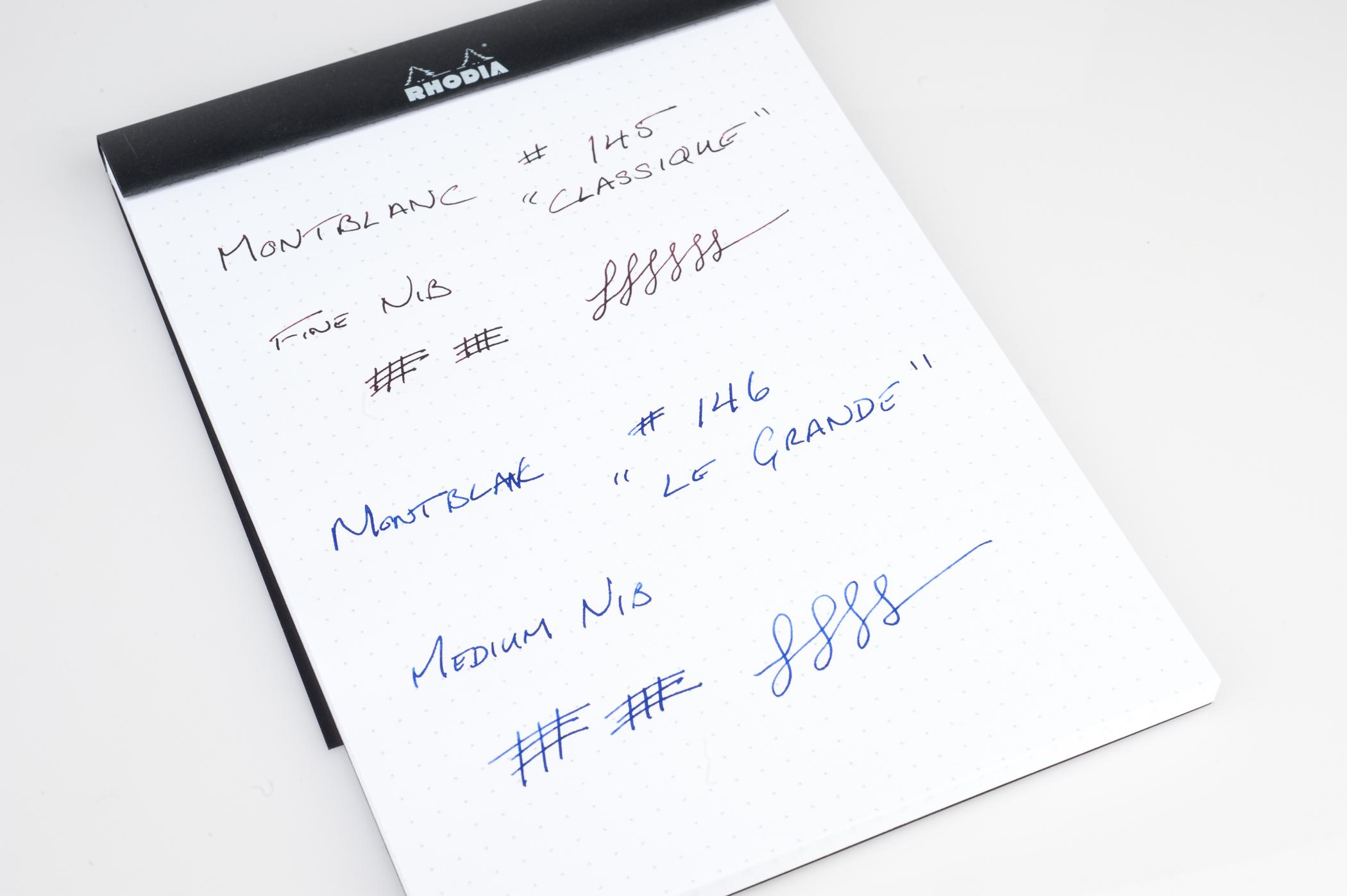 Montblanc Fountain Pen writing sample - 145 in fine nib and 146 in medium nib