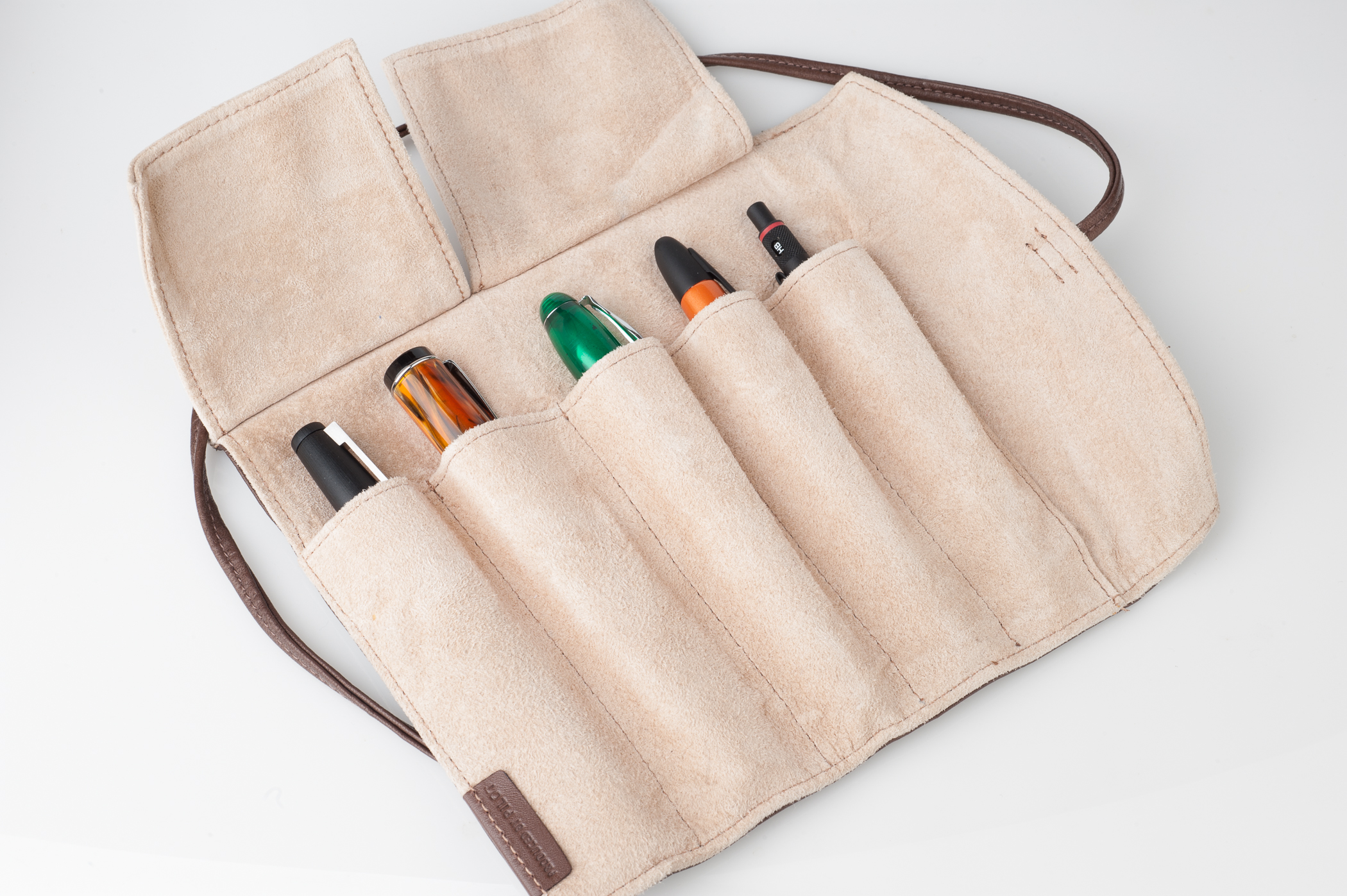 Pilot Pensemble Leather Pen Roll storing fountain pens and mechanical pencils