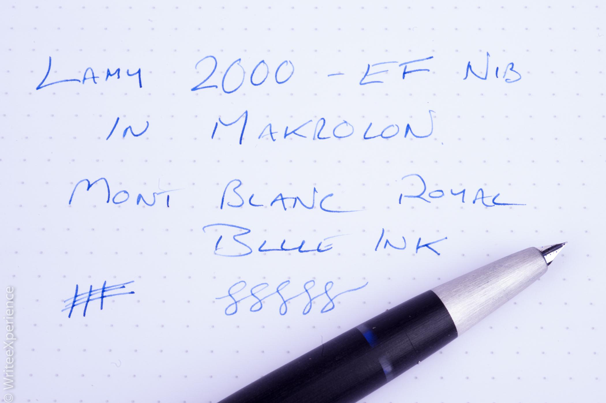 Lamy 2000 writing sample montblanc royal blue