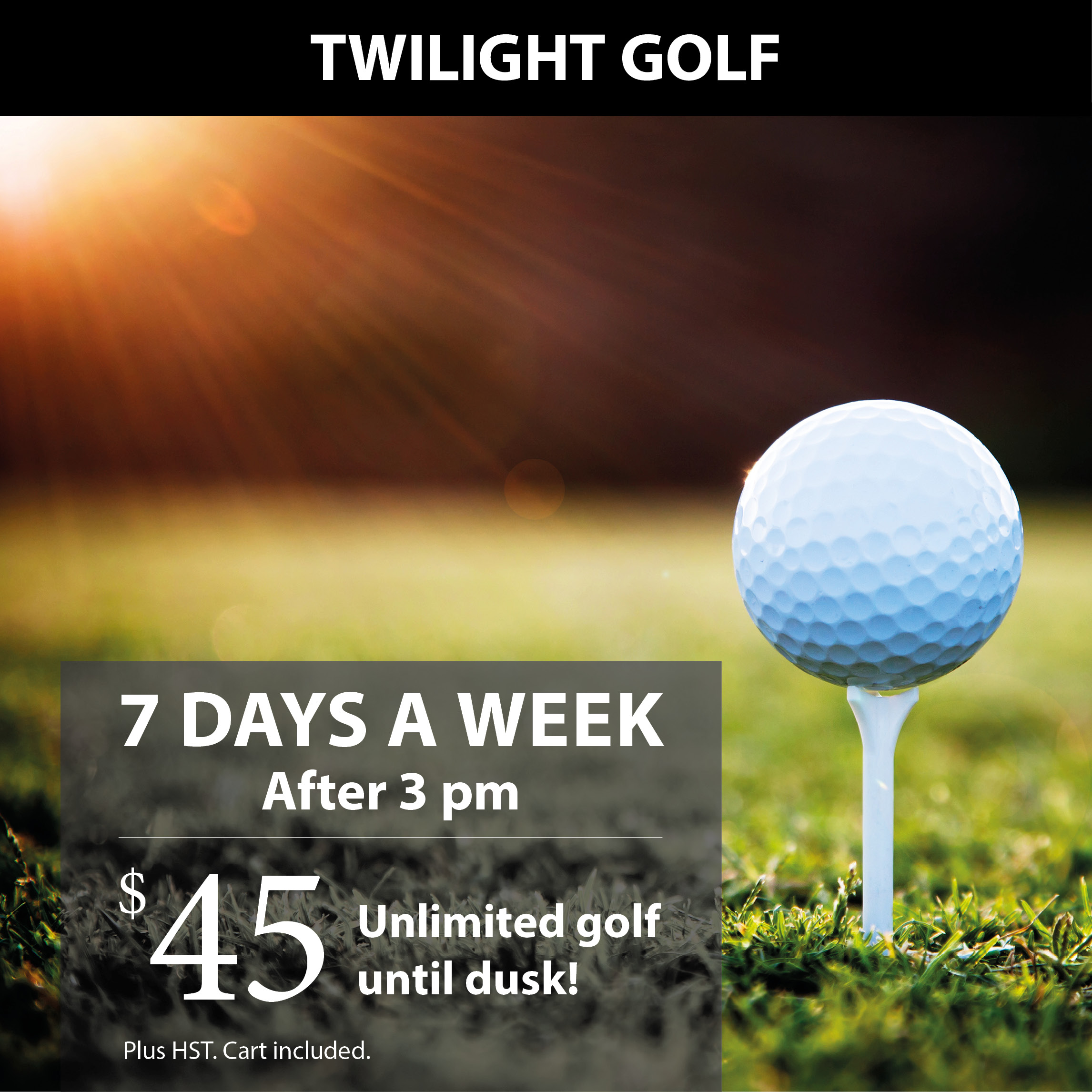 Play as many holes as you can with our Twilight golf special. Available after 3:00pm, 7 days a week!