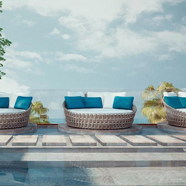 El color AZUL, representando el concepto de #HotelBoutique, reflejando serenidad, calma, infinito y tendencia. 🌊 #ByMuraArq