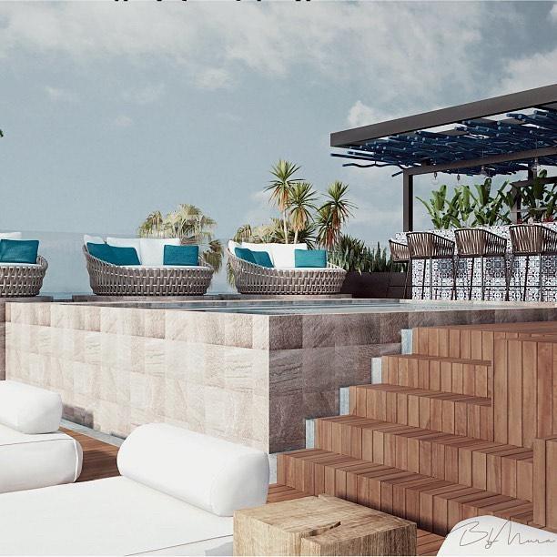 Vista completa de la terraza en #HotelBoutique 💙 📍Tulum, Quintana Roo.  #ByMura