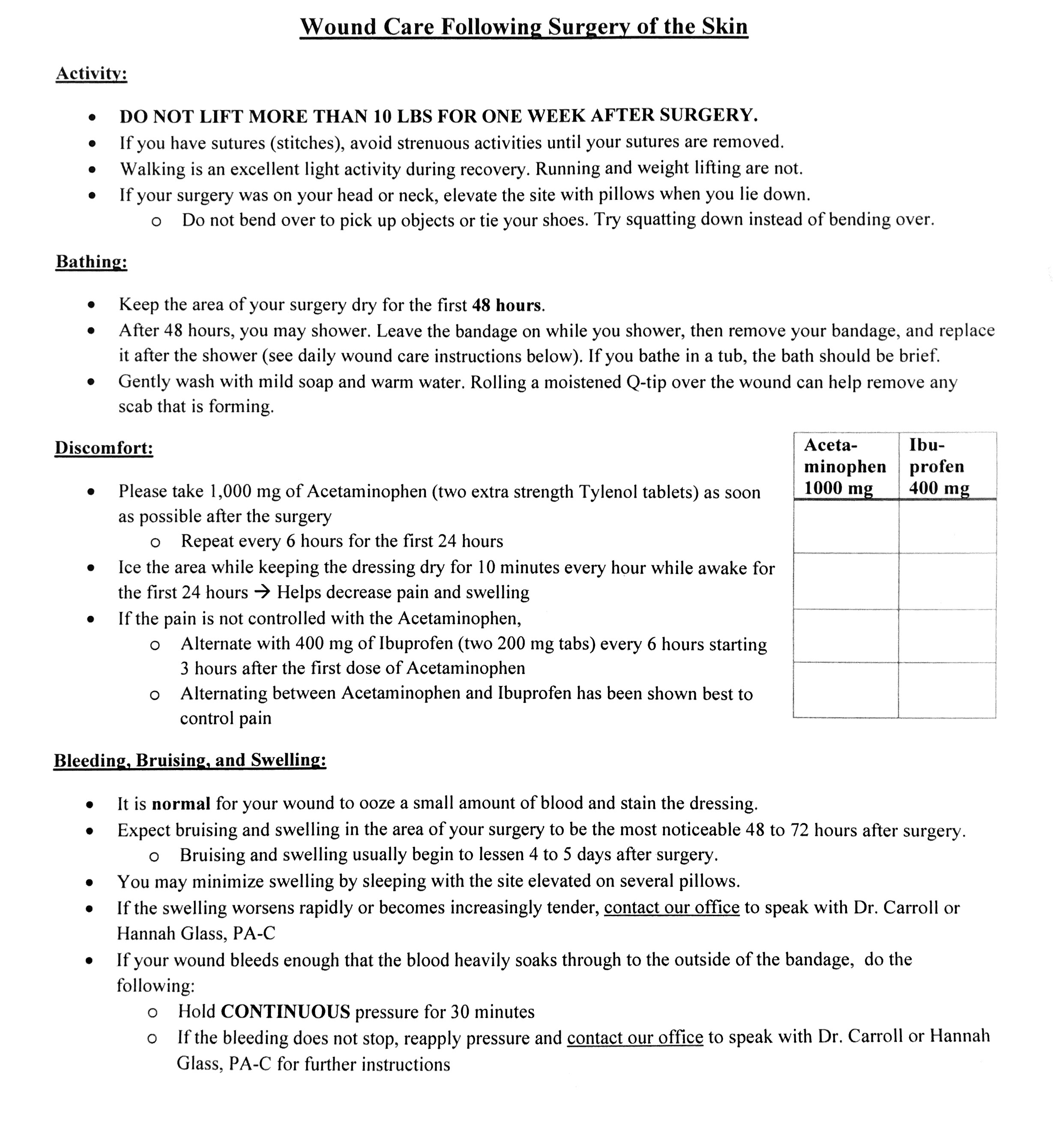 A typical post-operative care sheet will look something like this. Patients sometimes find the instructions intimidating and difficult to follow, so they call in after hours to nurses to ask follow-up questions. Furthermore, if instructions aren't followed properly, serious health concerns and consequences could arise.