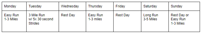 Example Training Week with Strides For Beginner Runner
