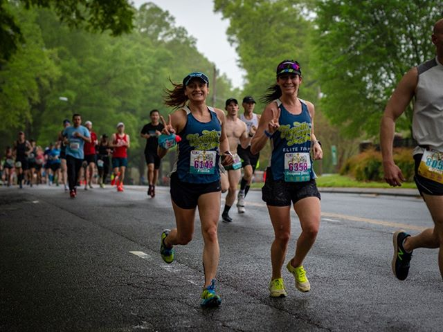 Coach Flavia running for the @charlotterunningcompany Race Team at the Charlotte Racefest Half Marathon