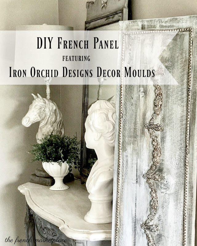 "Have you ever seen those beautiful, French panels used in decor? You usually see them propped against something or hanging on the wall. They're amazing and they are also expensive. Well, today is your lucky day because I'm going to show you how to make one of your own. All you need is a board from your local home improvement center and a few Iron Orchid Designs products. Ready? Let's get started!  Here is a list of what you will need:  12″ X 5′ board (you can use a smaller board if you prefer)  IOD Vintage Art Decor Mould "" Fleur"" item #81529  IOD Vintage Art Decor Mould ""Moulding 1"" item #815325  IOD Vintage Art Decor Mould ""Nautica 2"" Item #815332  IOD Paper Clay item #814991  Wood Glue – I used Gorilla brand wood glue  white chalky finish paint – I used Amy Howard One Step in Baunhaus Buff  blue chalky finish paint – I used Americana Decor in Serene  antiquing glaze  gold acrylic paint – I used Folk Art Metallic Antique Gold (658)  paint brushes  paper towels"